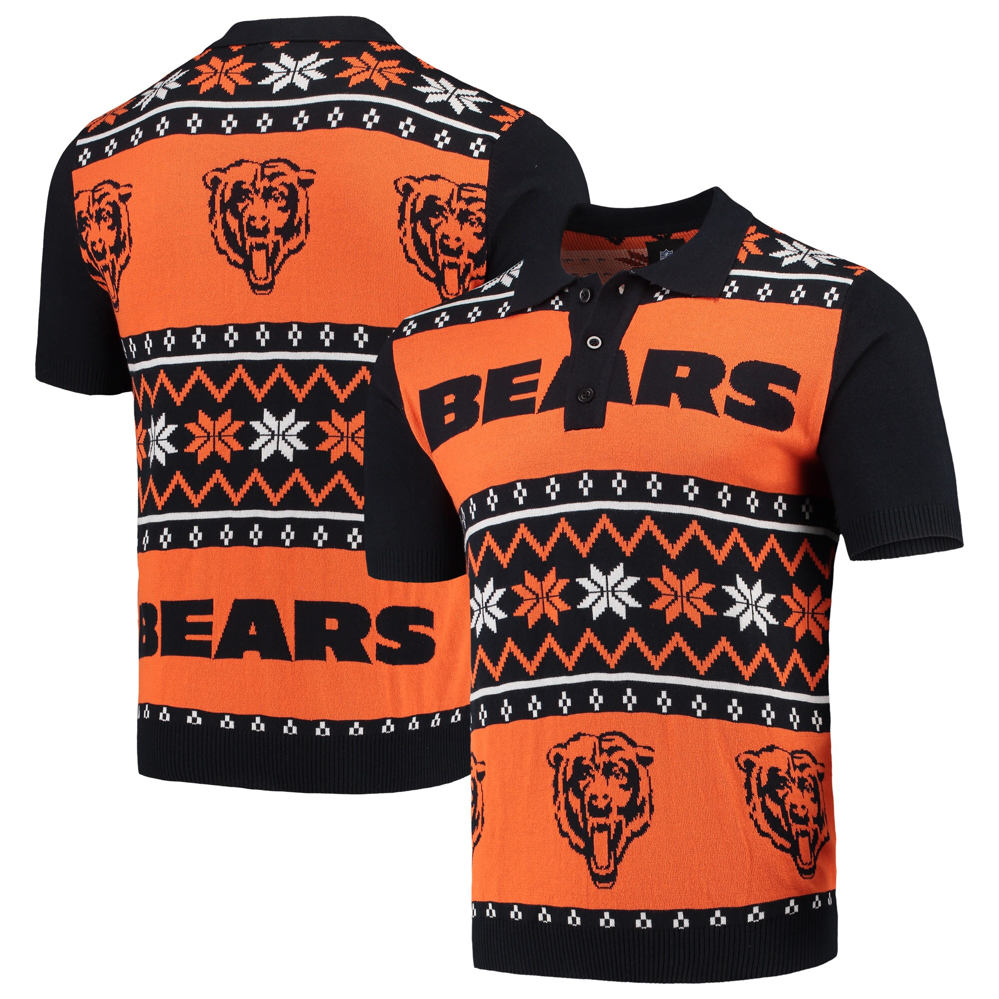 Chicago Bears Ugly Sweater Knit Polo - Navy/Orange