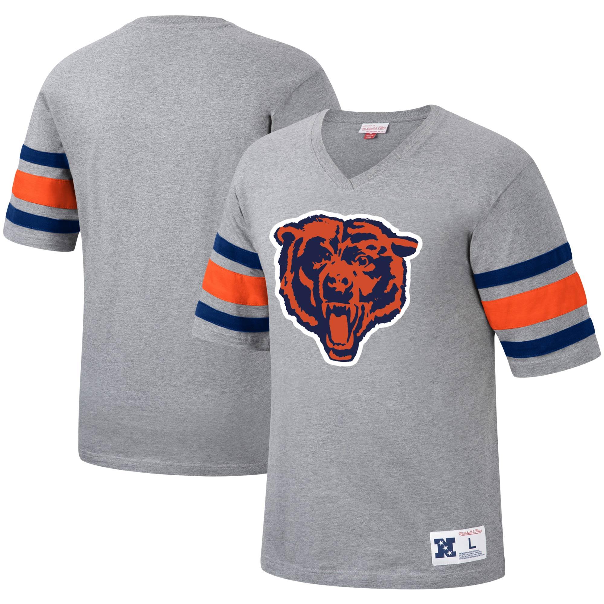 Chicago Bears Mitchell & Ness Post Season Run V-Neck T-Shirt - Heathered Gray