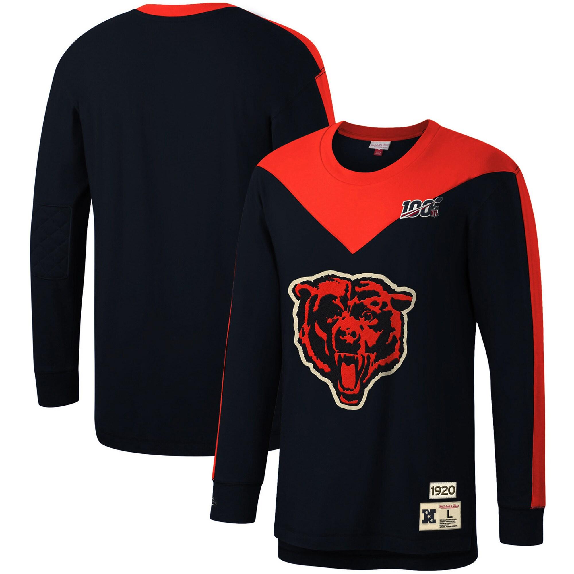 Chicago Bears Mitchell & Ness NFL 100 Team Inspired Long Sleeve T-Shirt - Navy
