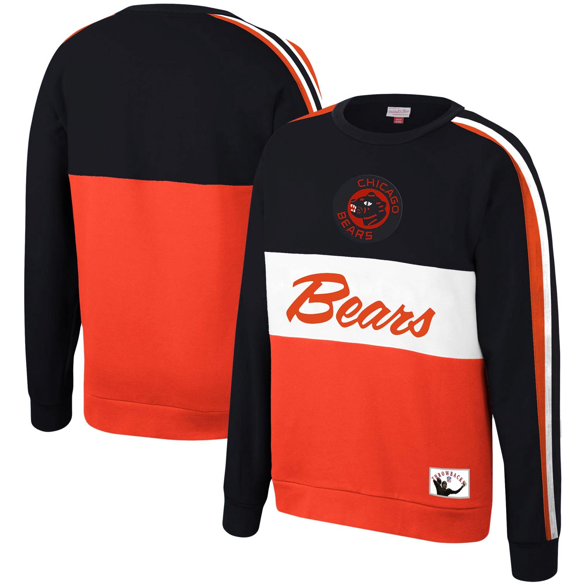 Chicago Bears Mitchell & Ness Throwback Leading Scorer Fleece Crew Sweatshirt - Navy