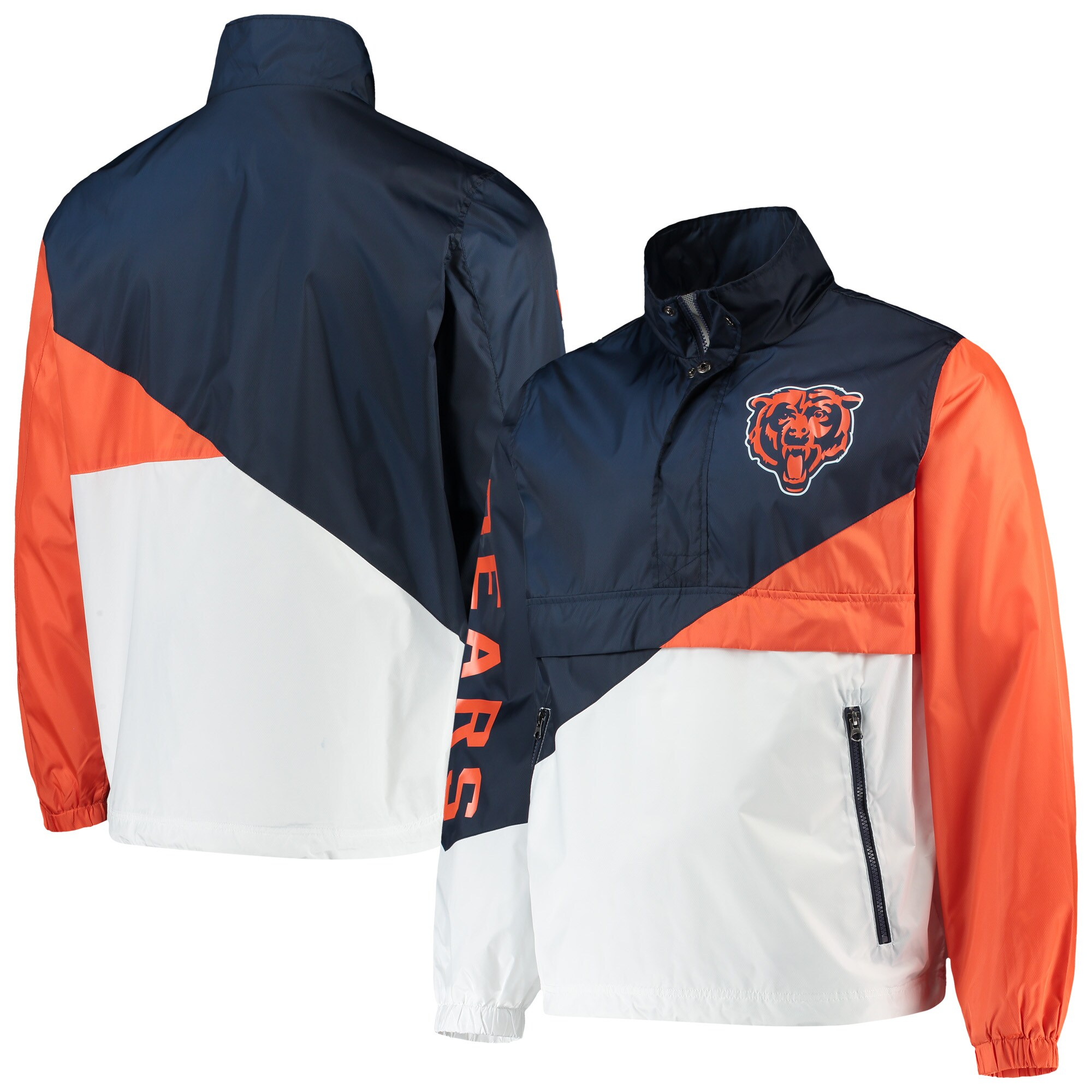 Chicago Bears G-III Sports by Carl Banks Double Team Half-Zip Pullover Jacket - Navy/White