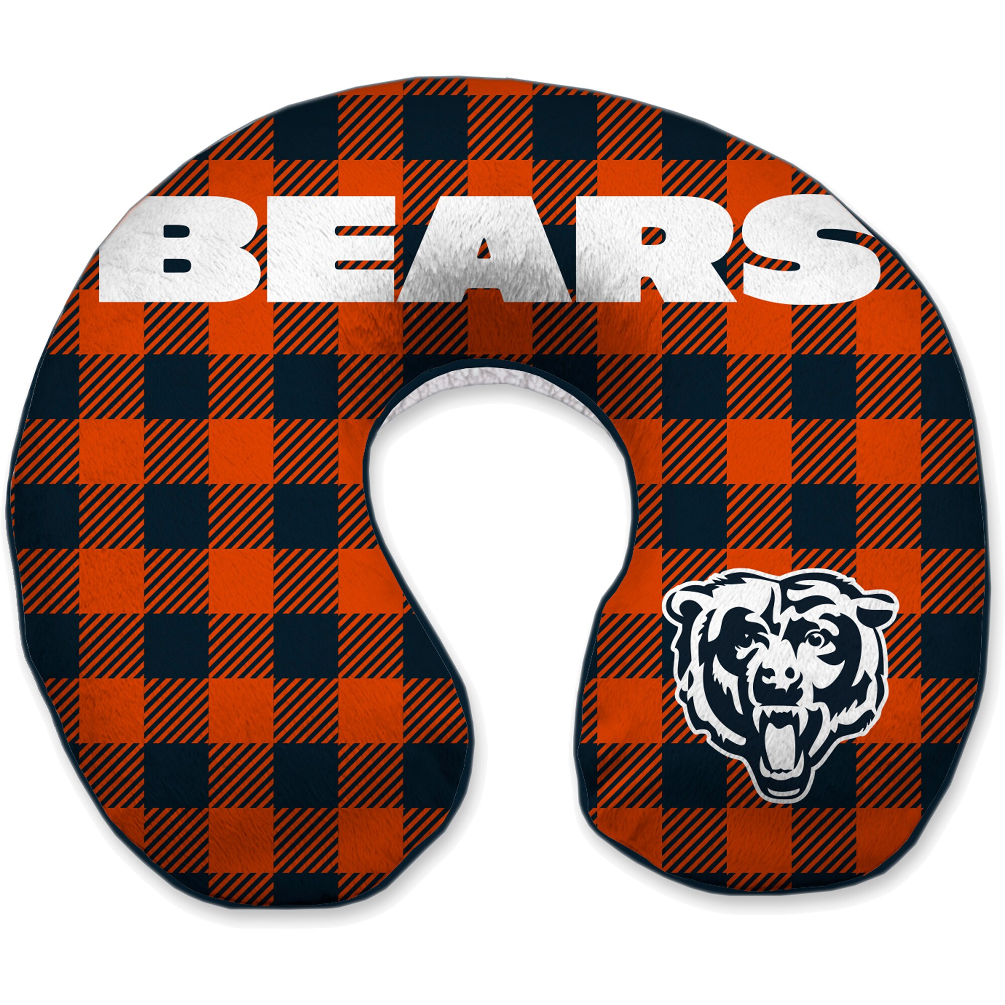 Chicago Bears Buffalo Check Sherpa Memory Foam Travel Pillow - Blue