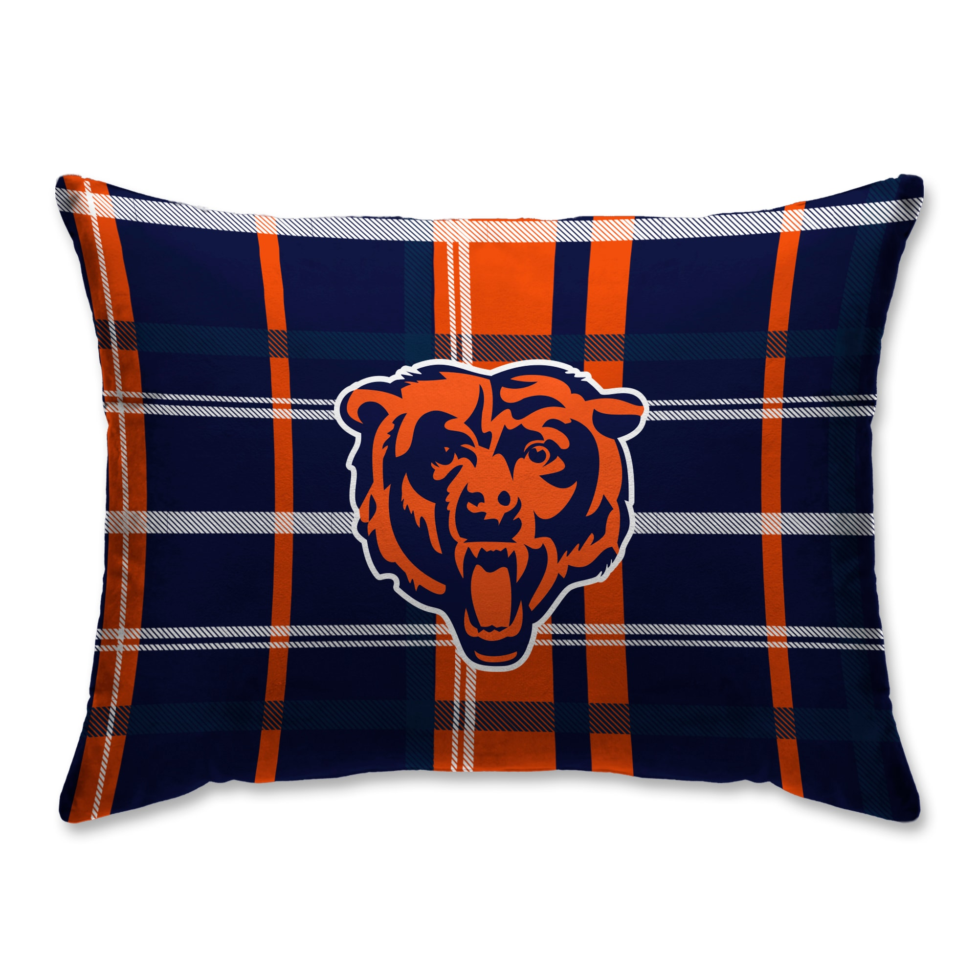 Chicago Bears Plaid Plush Sherpa Bed Pillow - Blue