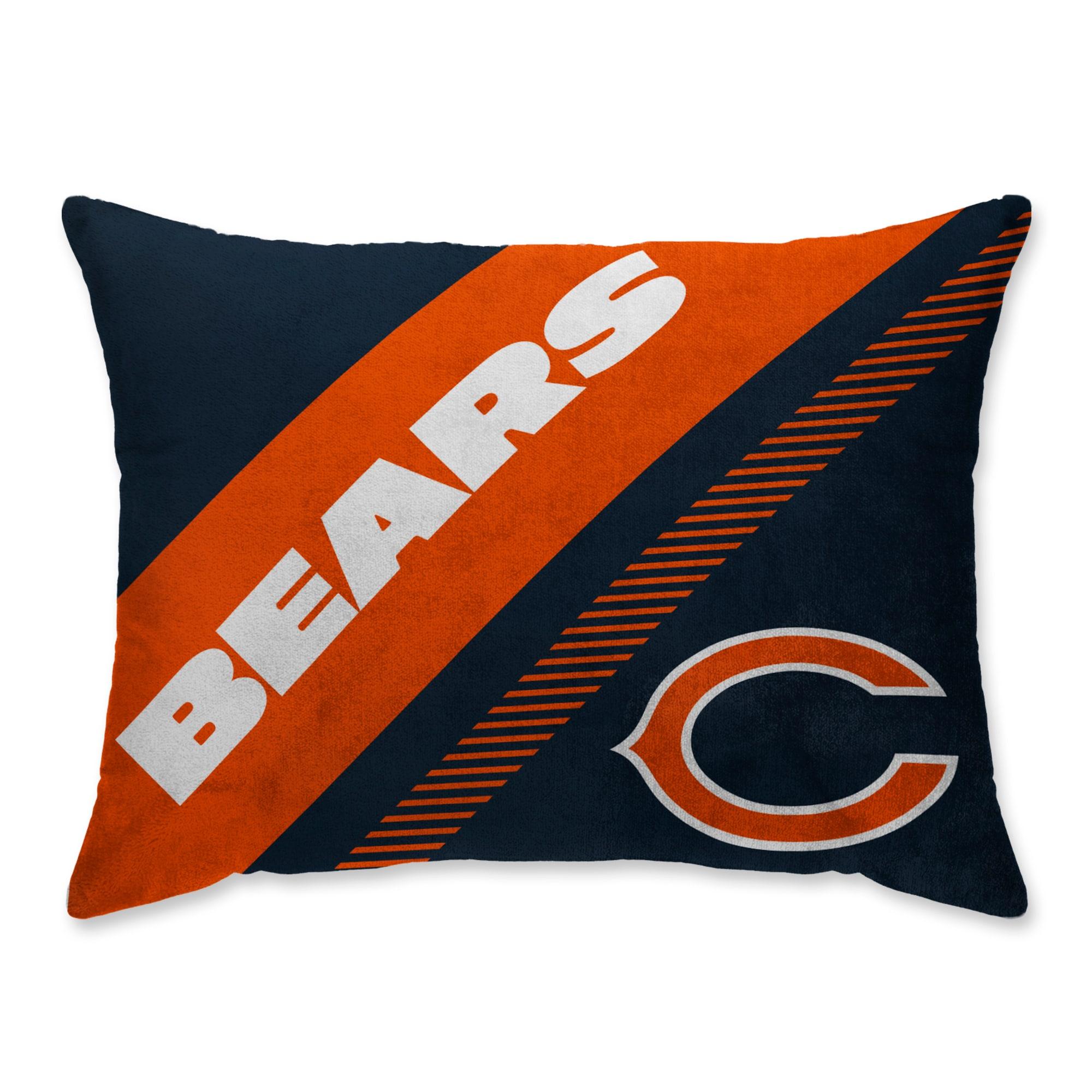 Chicago Bears Super Plush Mink Diagonal Bed Pillow - Blue