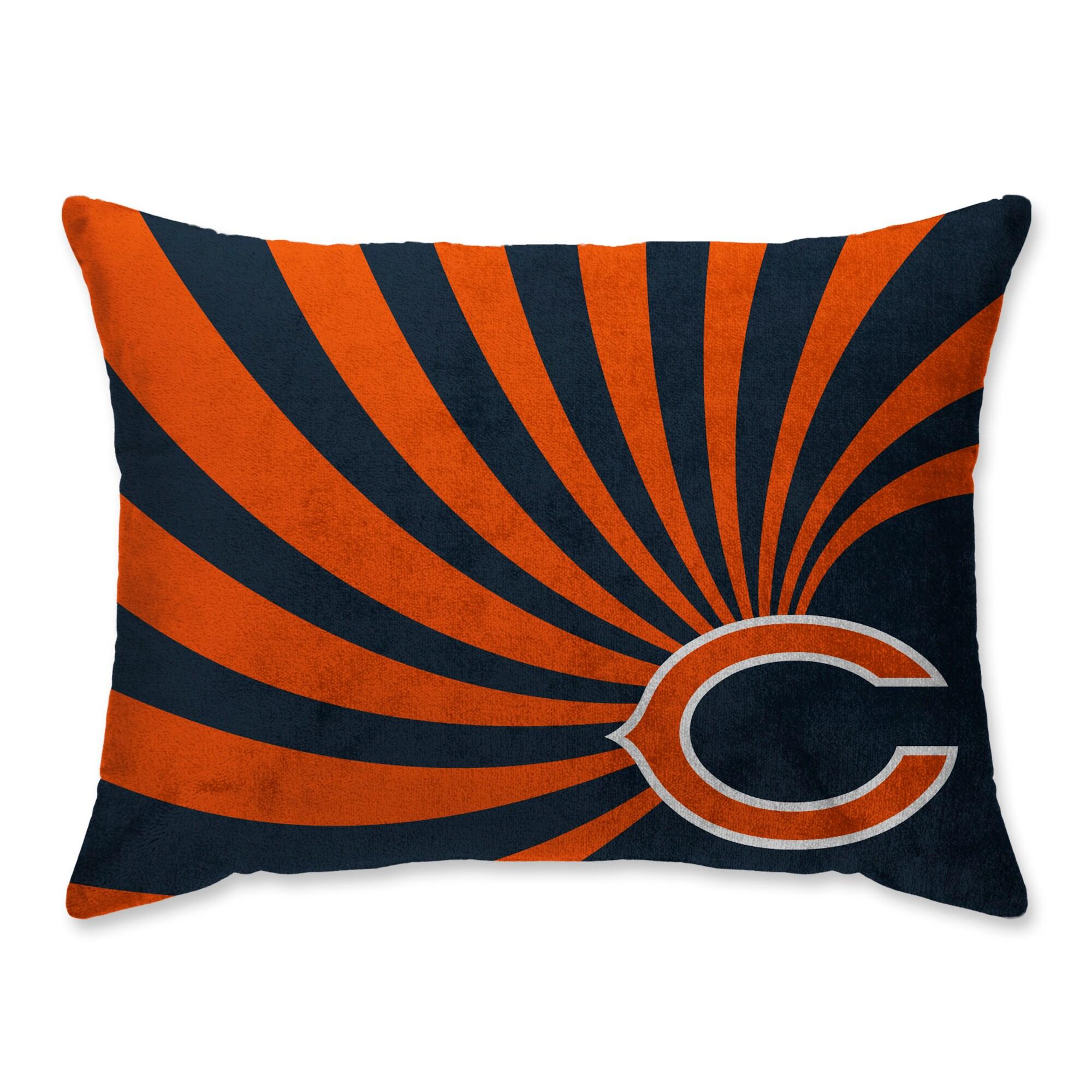 Chicago Bears Super Plush Mink Wave Bed Pillow - Blue