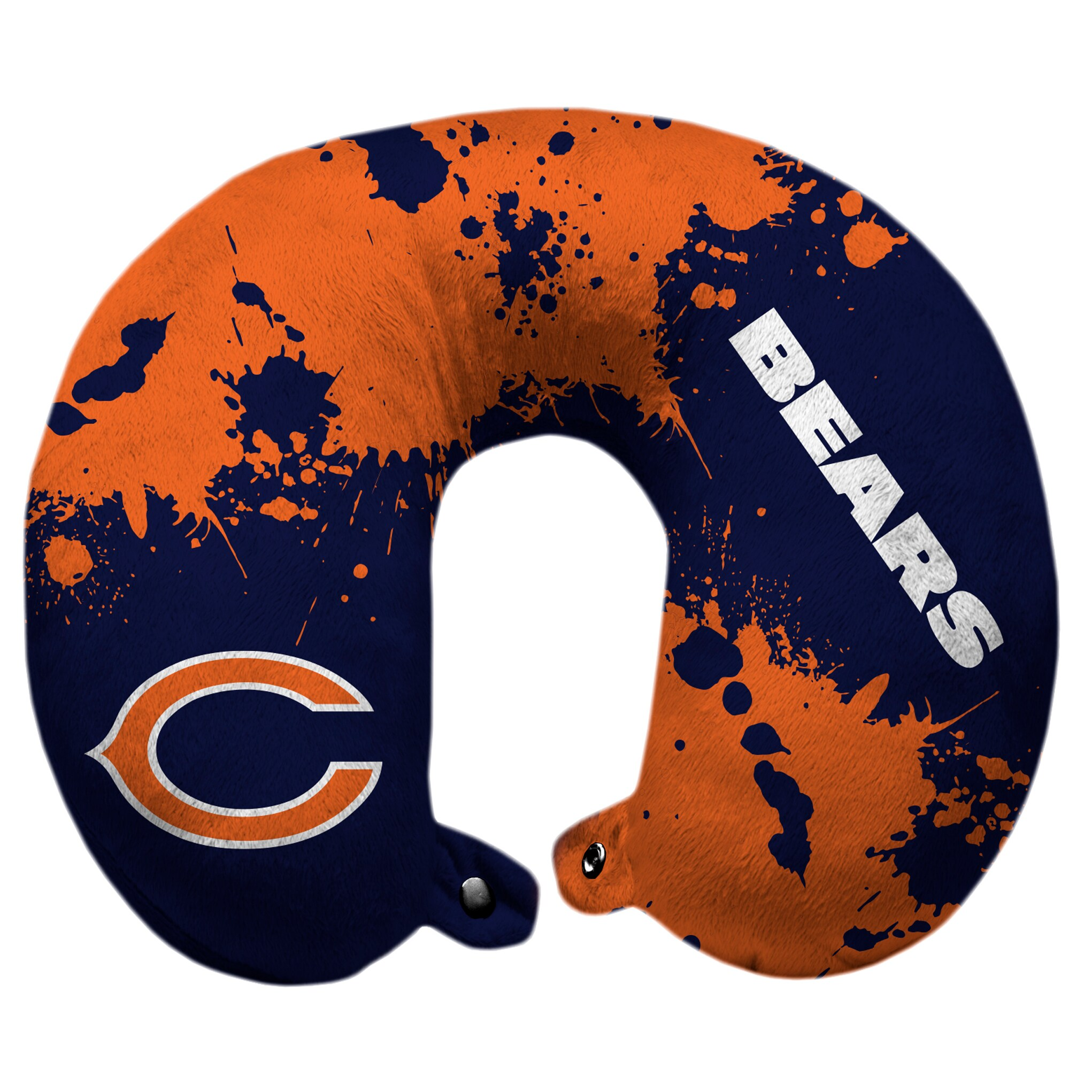Chicago Bears Splatter Polyester Snap Closure Travel Pillow - Blue