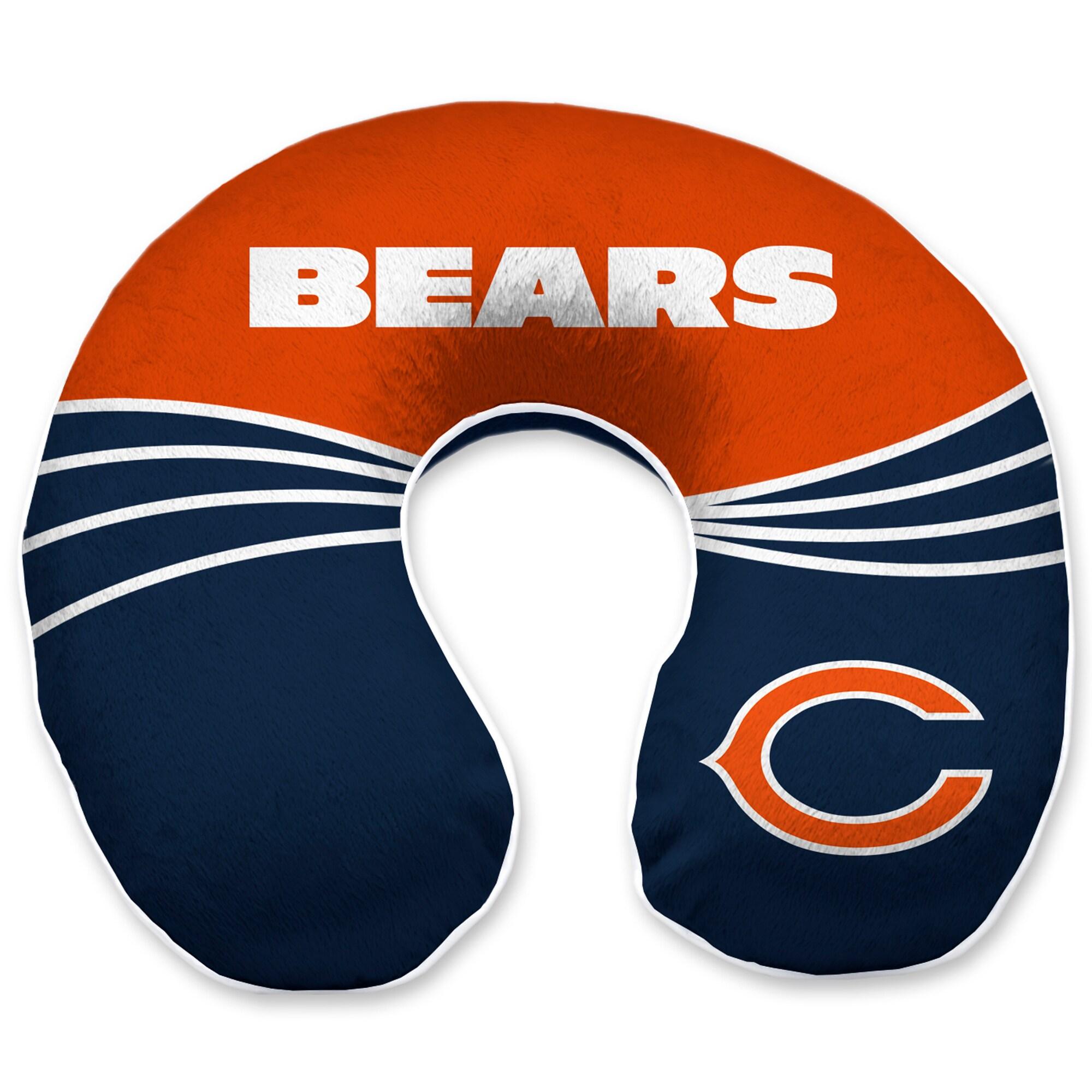 Chicago Bears Wave Memory Foam U-Neck Travel Pillow - Blue