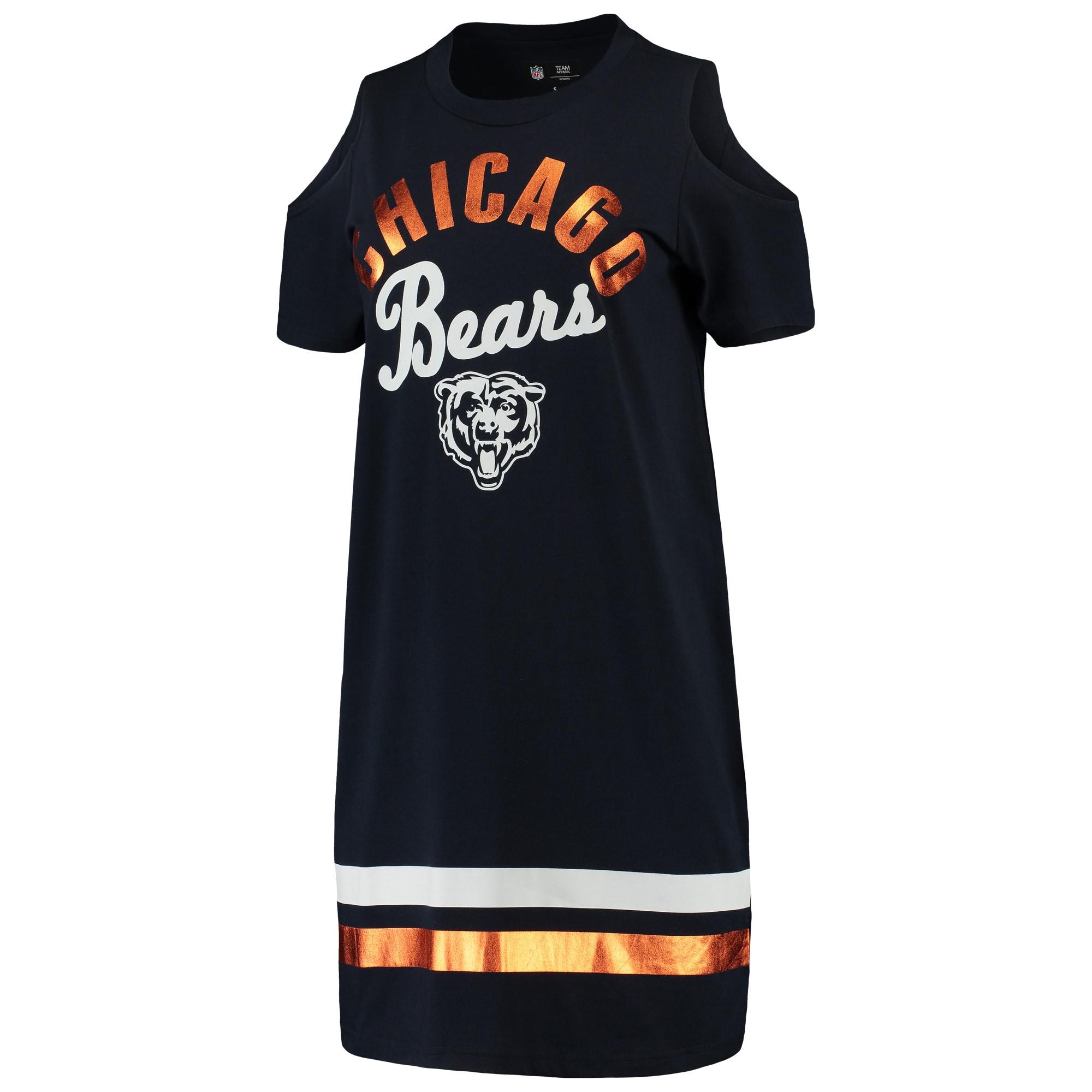 Chicago Bears G-III 4Her by Carl Banks Women's Go Get Em Tri-Blend Cold Shoulder Mini-Dress - Navy