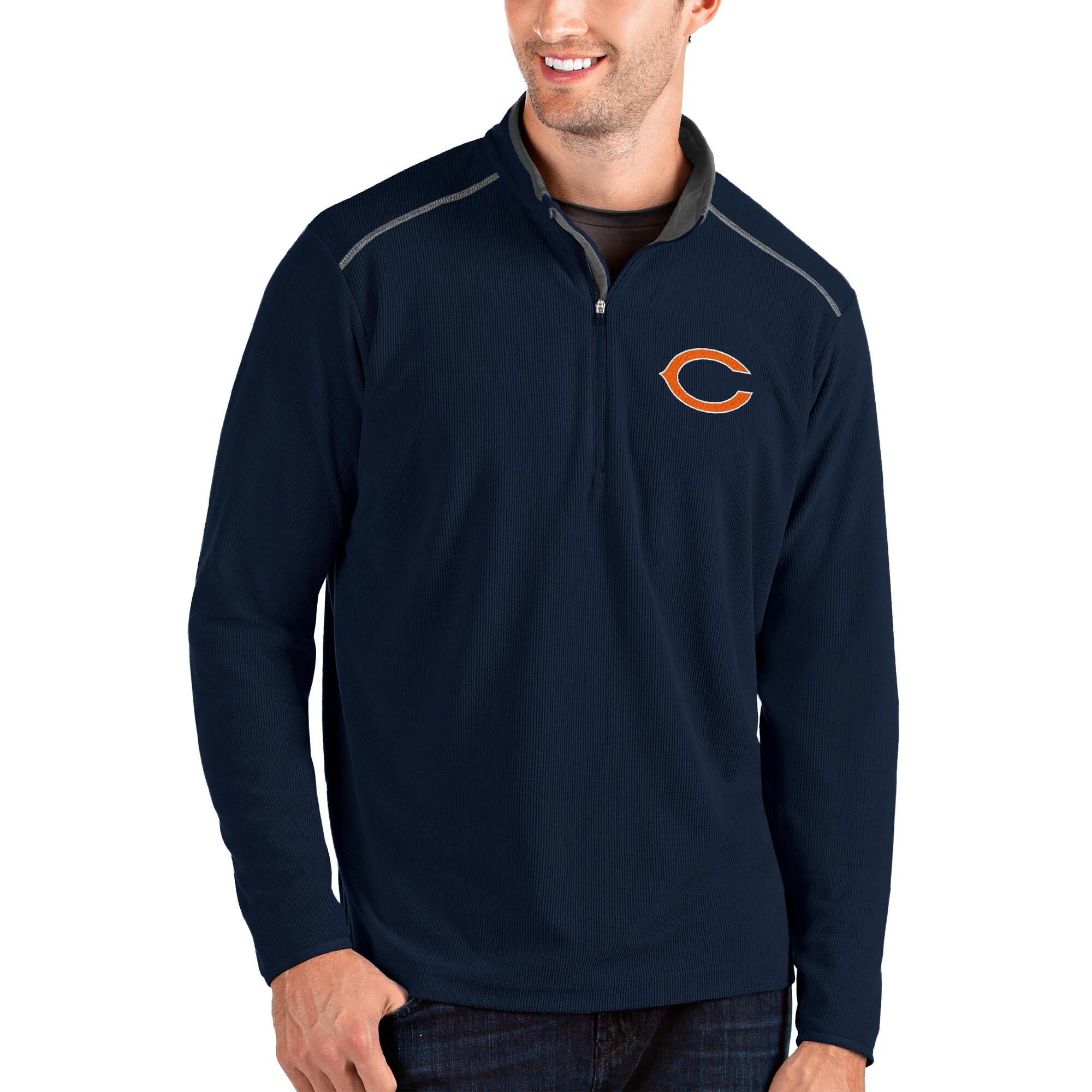 Chicago Bears Antigua Glacier Quarter-Zip Pullover Jacket - Navy/Gray