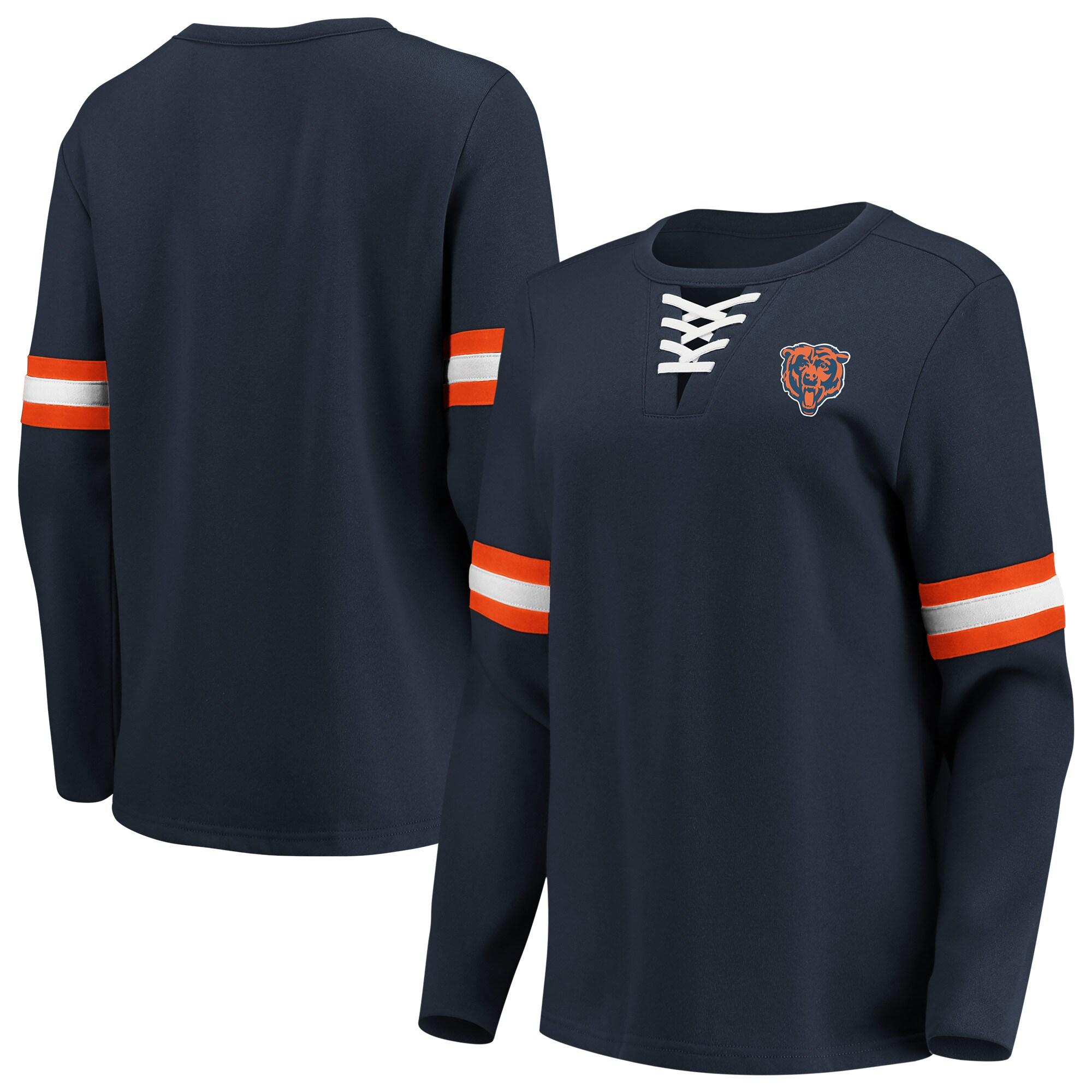 Chicago Bears Fanatics Branded Women's Lead Draft Lace-Up Pullover Fleece Sweatshirt - Navy