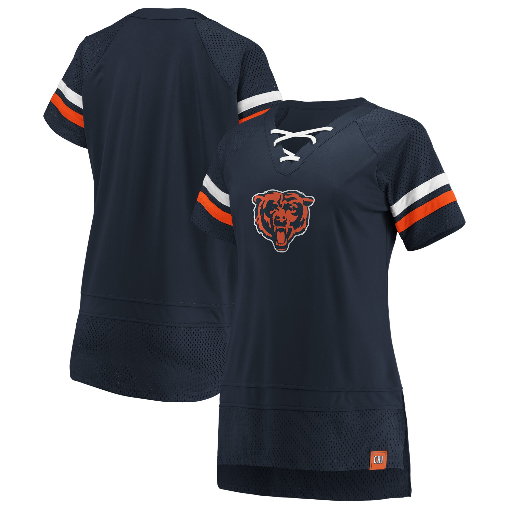 Chicago Bears Fanatics Branded Women's Draft Me Lace Up T-Shirt - Navy/Orange