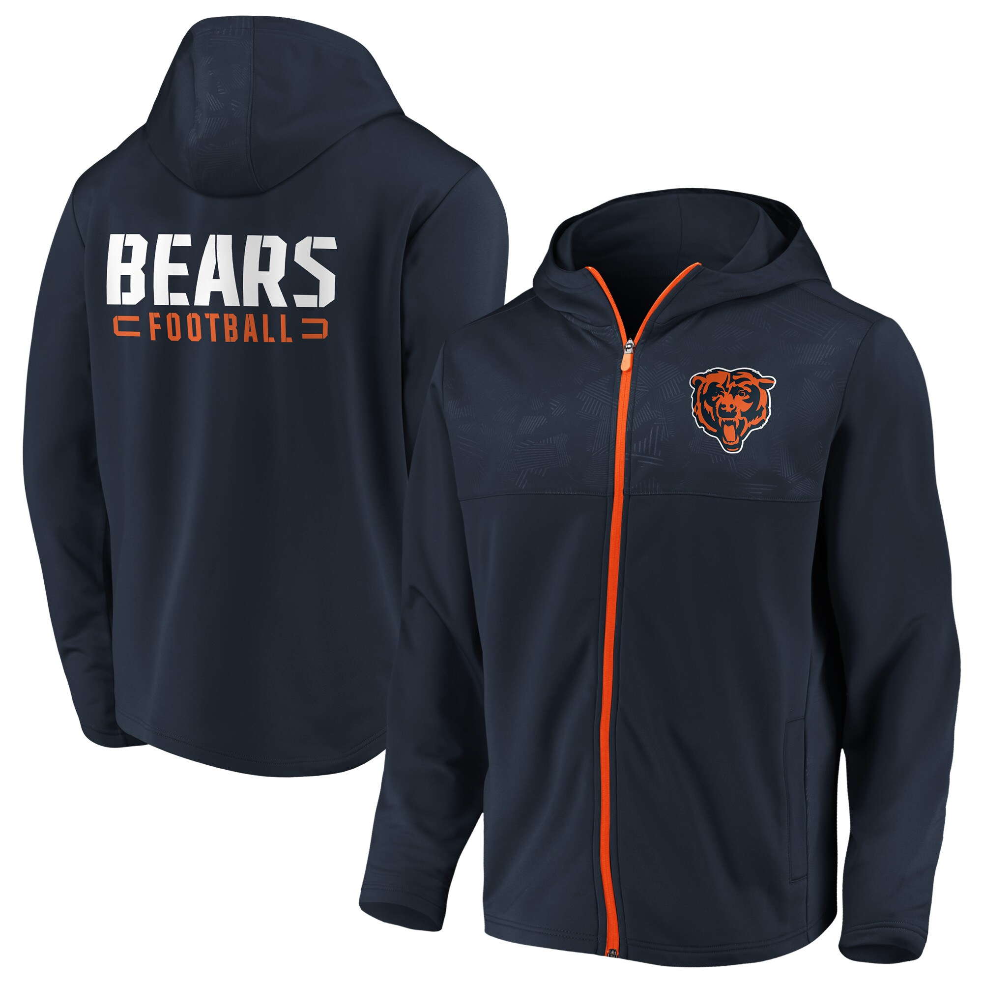 Chicago Bears NFL Pro Line by Fanatics Branded Iconic Defender Mission Primary Full-Zip Hoodie - Navy