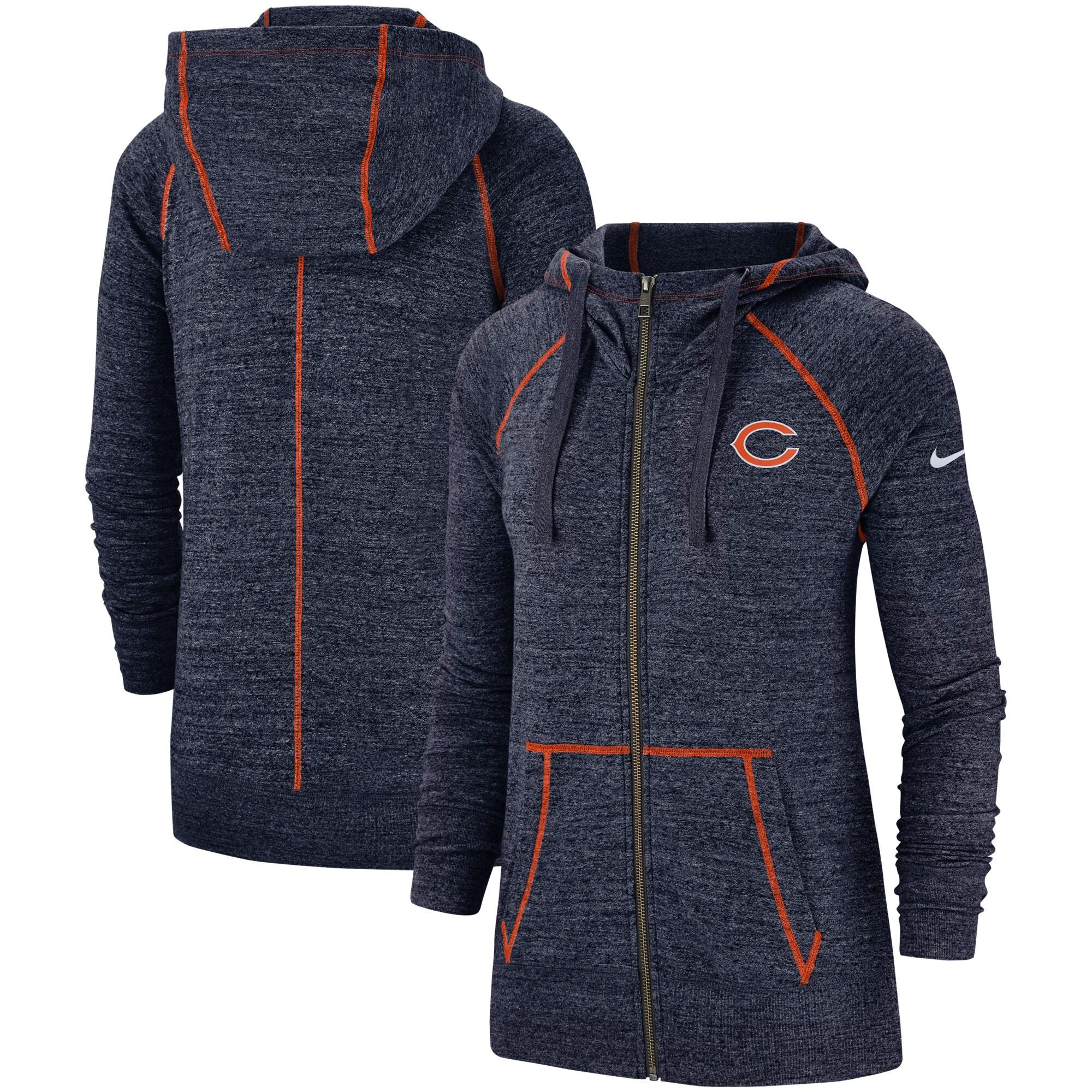 Chicago Bears Nike Women's Gym Vintage Raglan Full-Zip Hoodie - Heathered Navy
