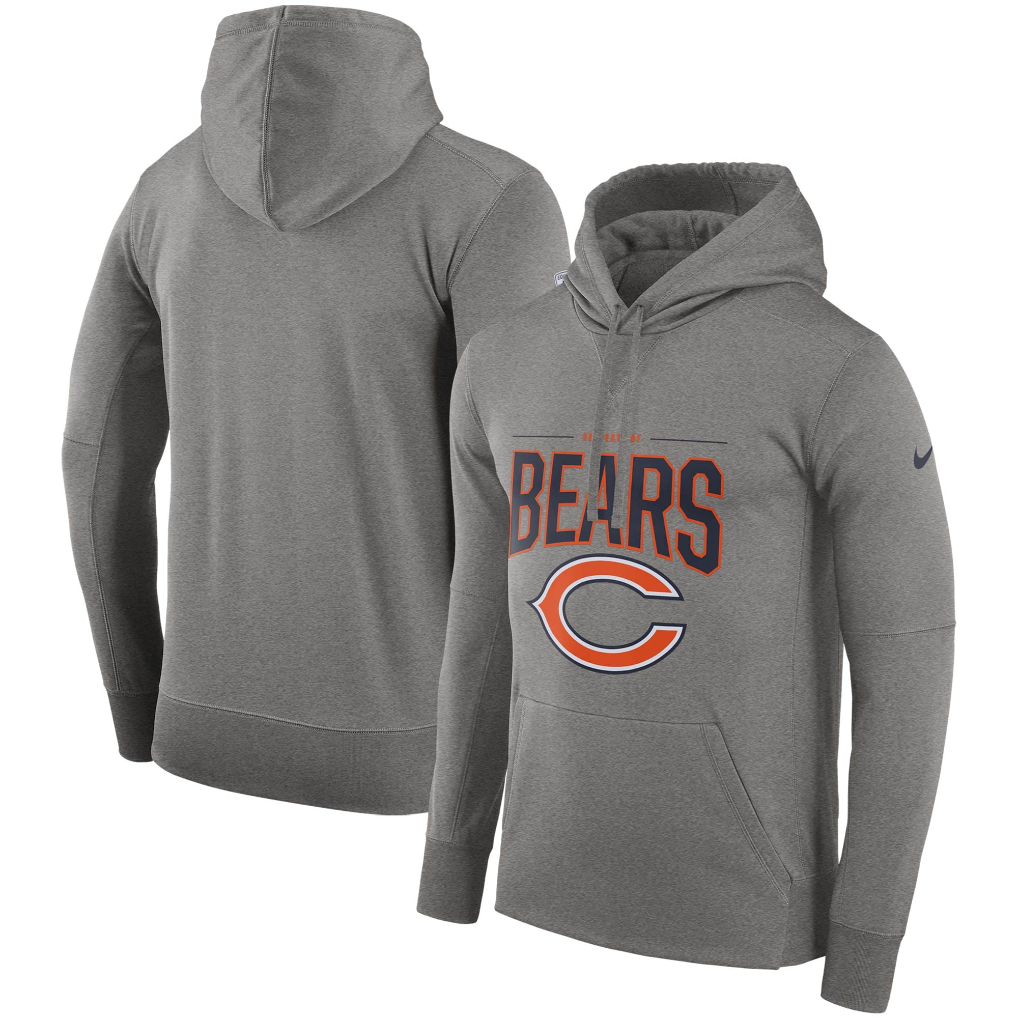 Chicago Bears Nike Sideline Property Of Performance Pullover Hoodie - Gray