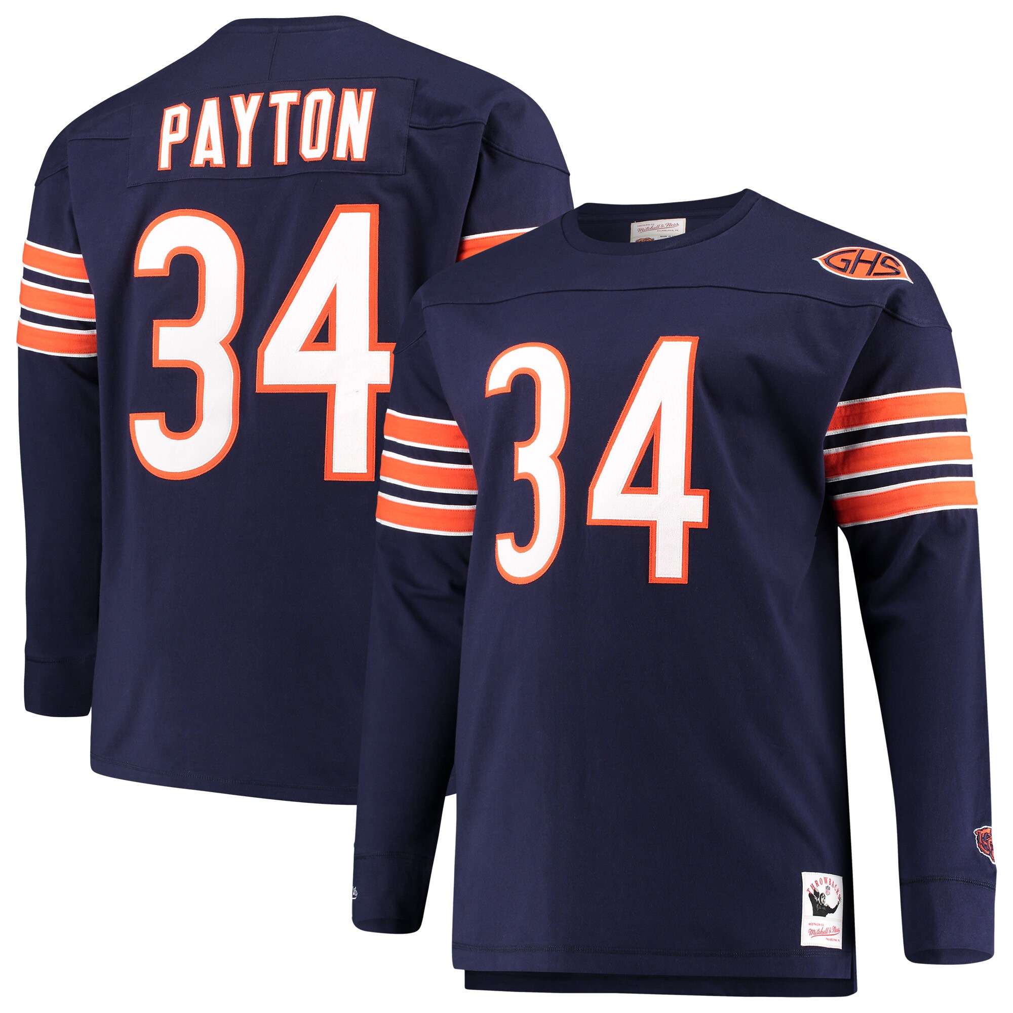 Walter Payton Chicago Bears Mitchell & Ness Big & Tall Retired Player Name & Number Long Sleeve Top - Navy