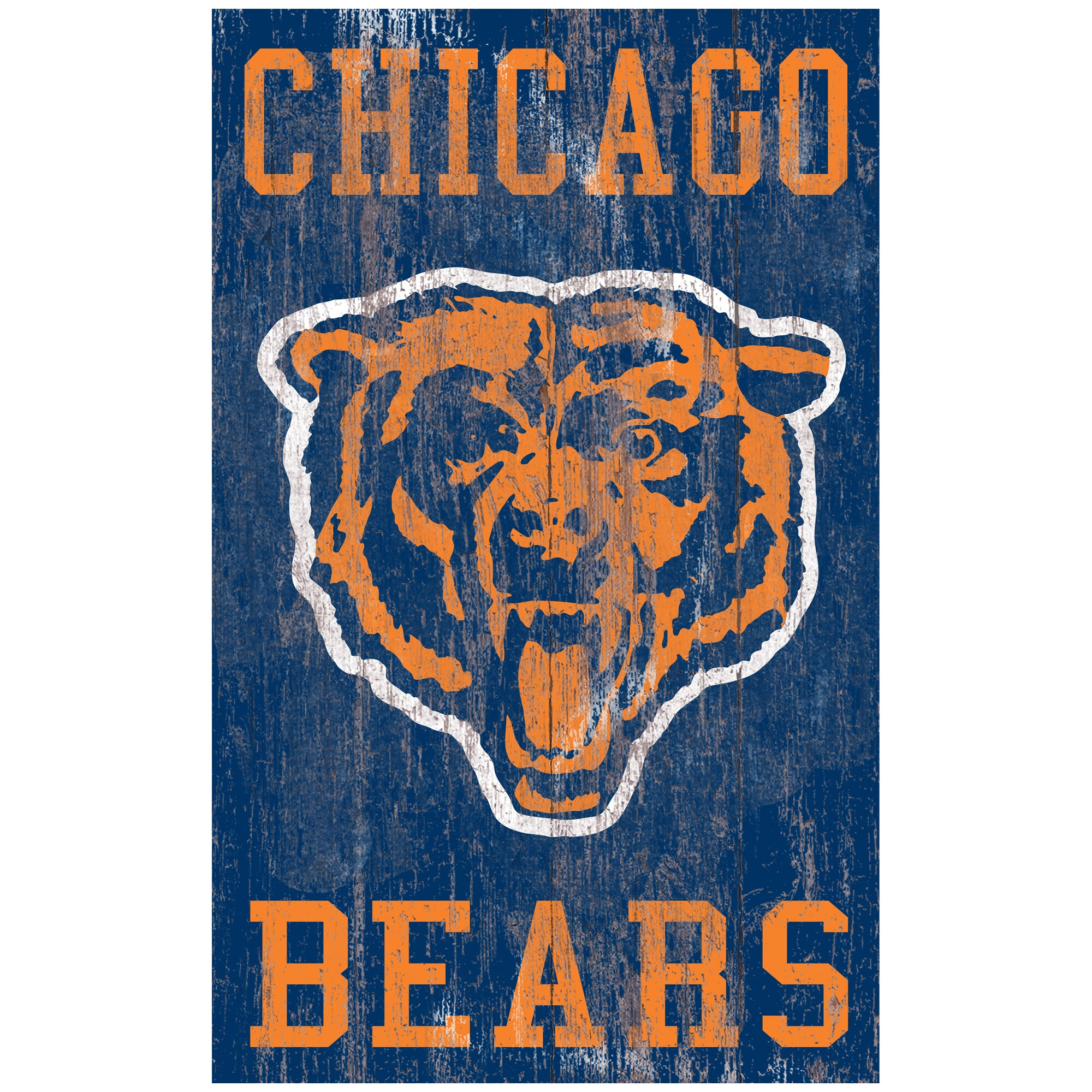 Chicago Bears 11'' x 19'' Heritage Distressed Logo Sign