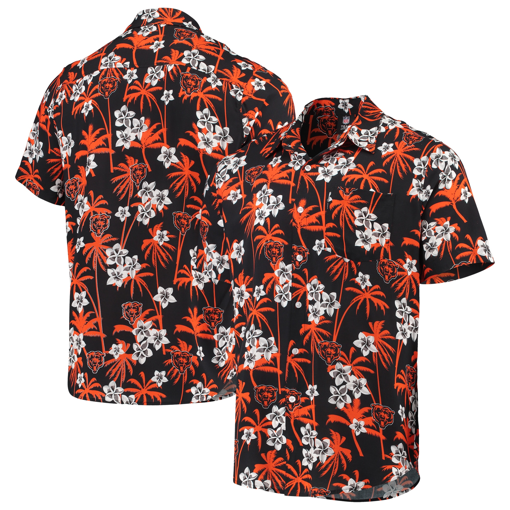 Chicago Bears Floral Woven Button-Up Shirt - Navy
