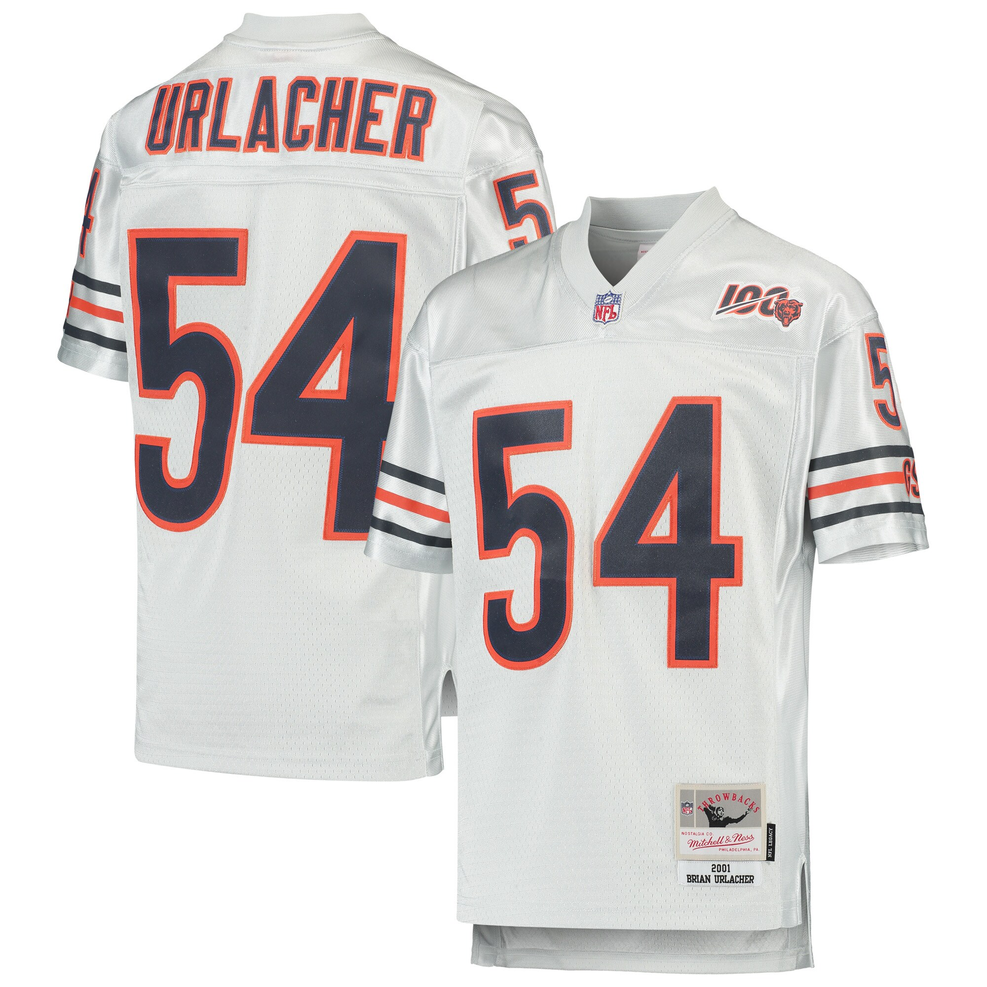 Brian Urlacher Chicago Bears Mitchell & Ness Youth 100th Season Retired Player Legacy Jersey - Platinum