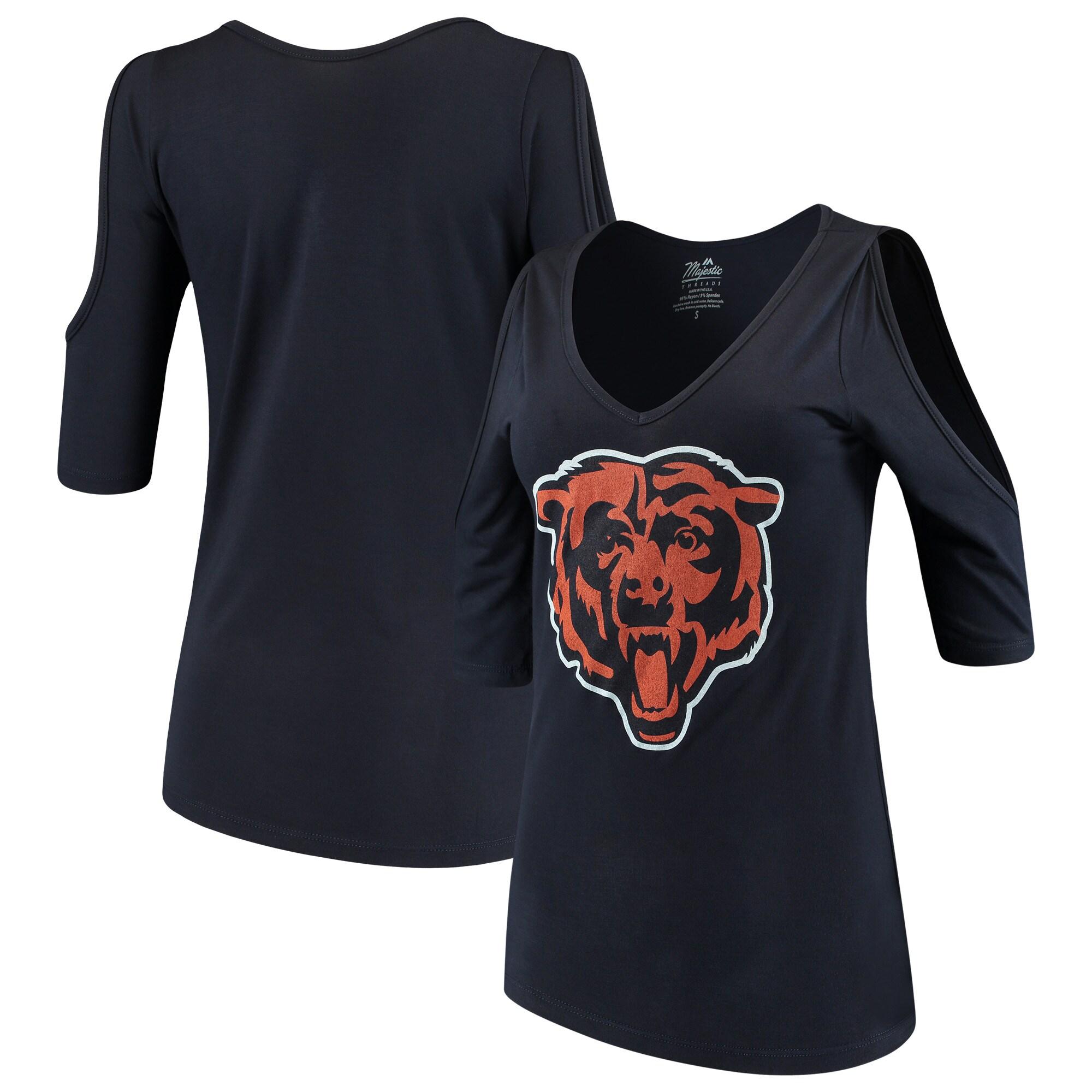 Chicago Bears Majestic Threads Women's Cold Shoulder 3/4-Sleeve V-Neck T-Shirt - Navy