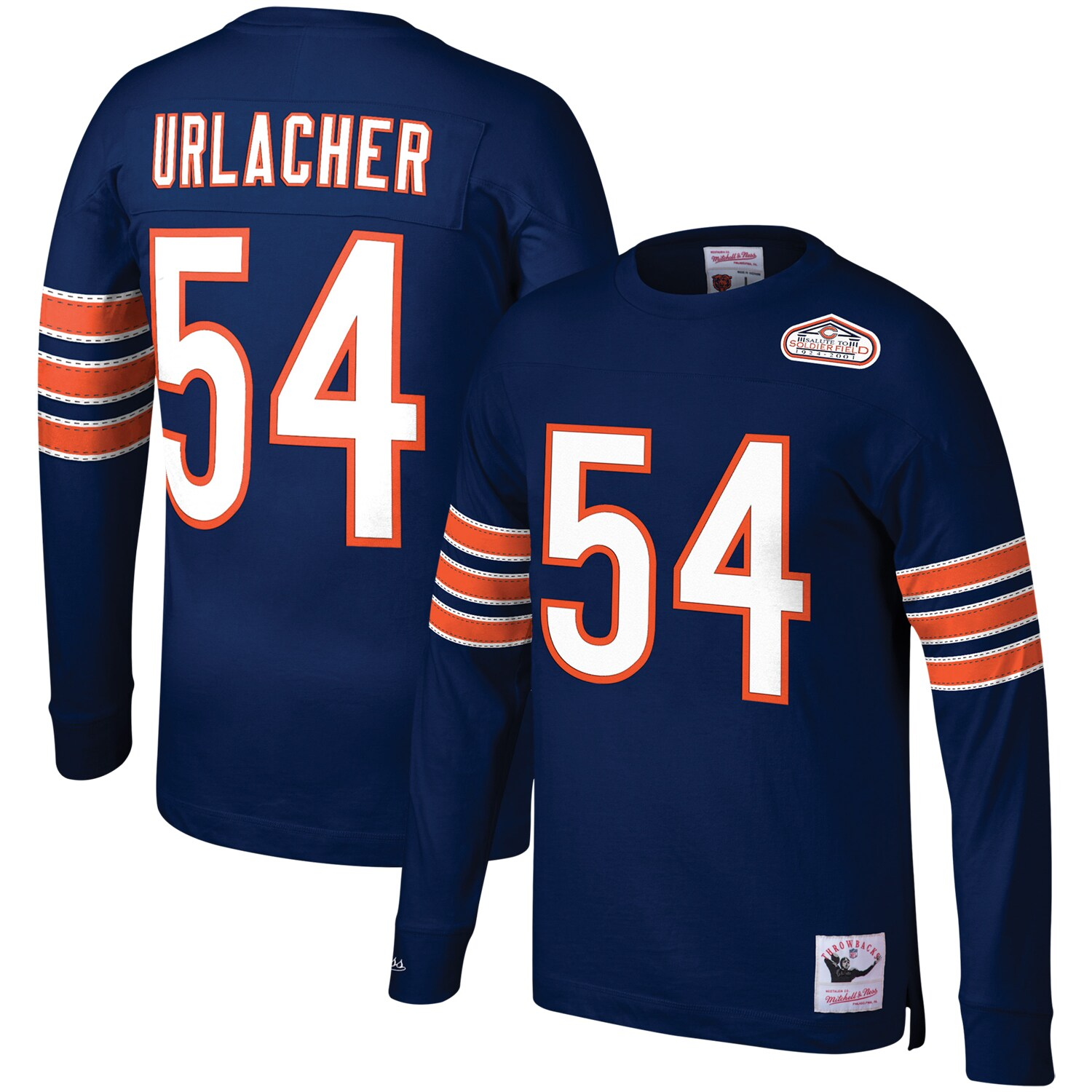 Brian Urlacher Chicago Bears Mitchell & Ness Retired Player Name & Number Long Sleeve Top - Navy