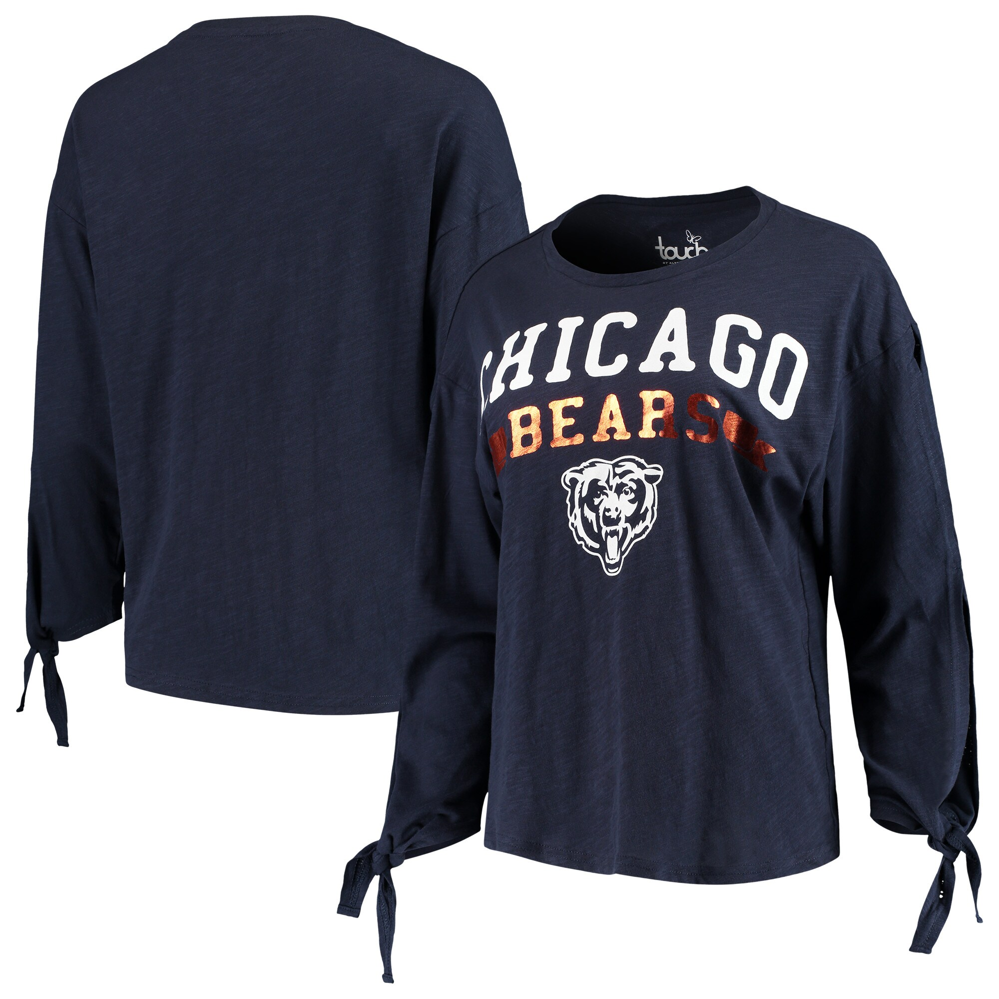 Chicago Bears Touch by Alyssa Milano Women's On The Fly Long Sleeve T-Shirt - Navy