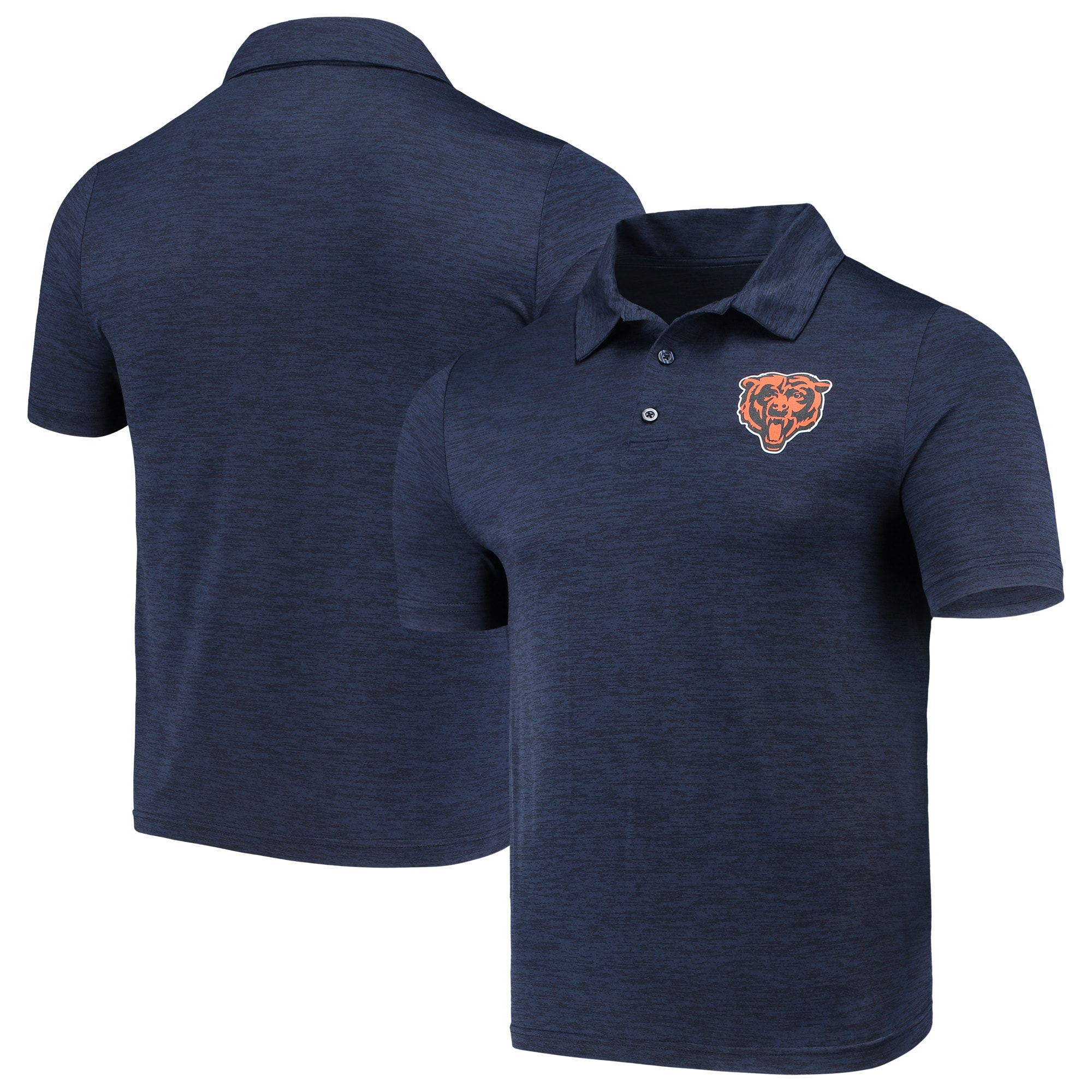 Chicago Bears Majestic Iconic Positive Production Polo - Heathered Navy