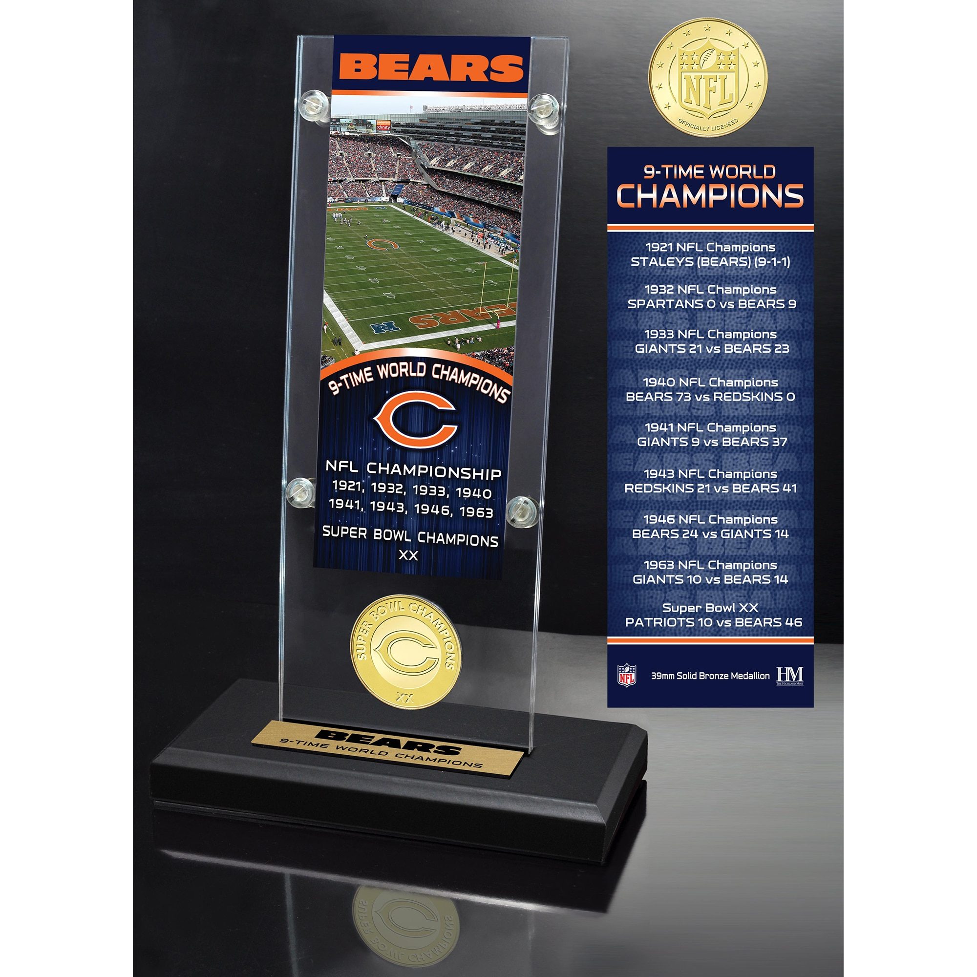 Chicago Bears Highland Mint 9-Time Super Bowl Champs Ticket Acrylic