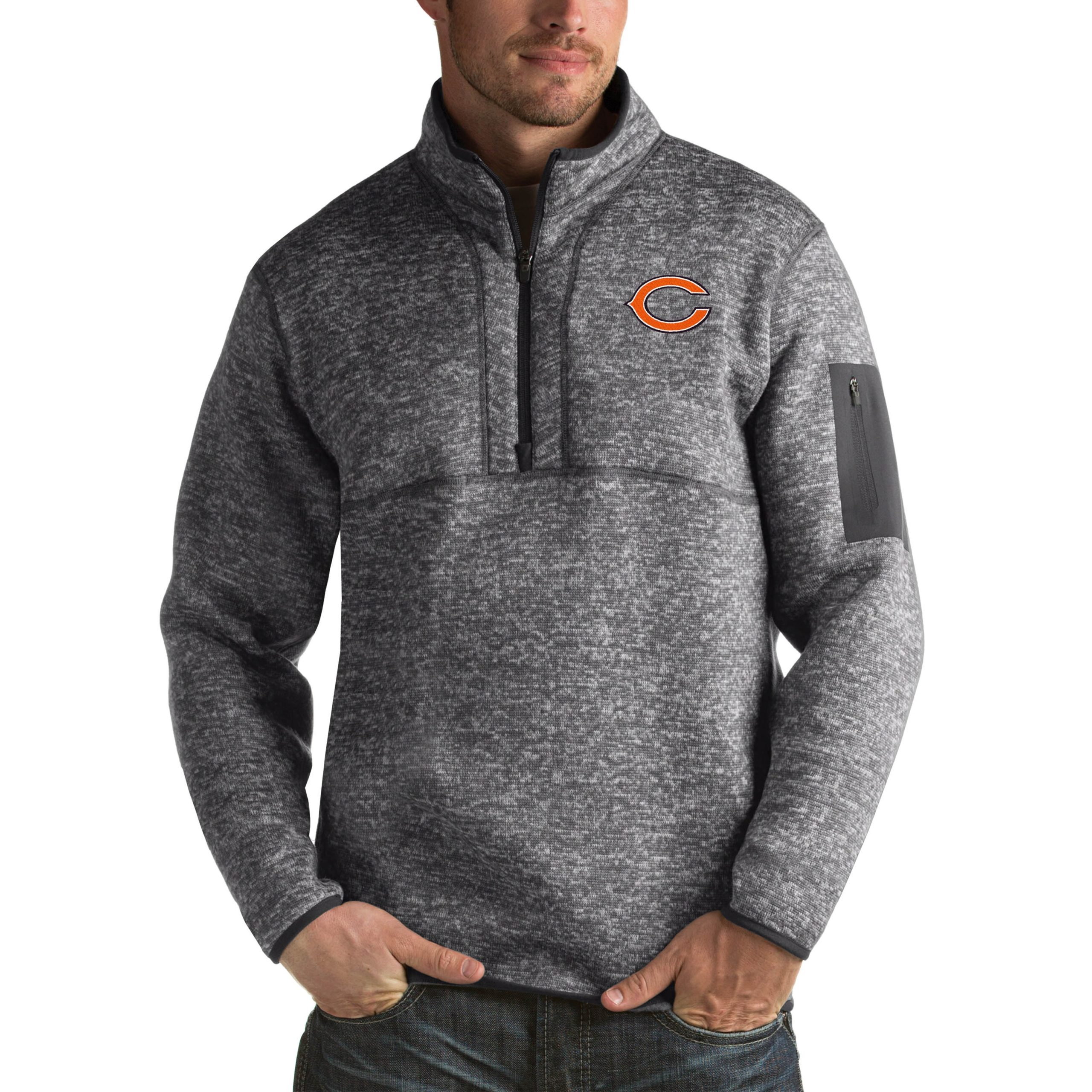 Chicago Bears Antigua Fortune Big & Tall Quarter-Zip Pullover Jacket - Charcoal