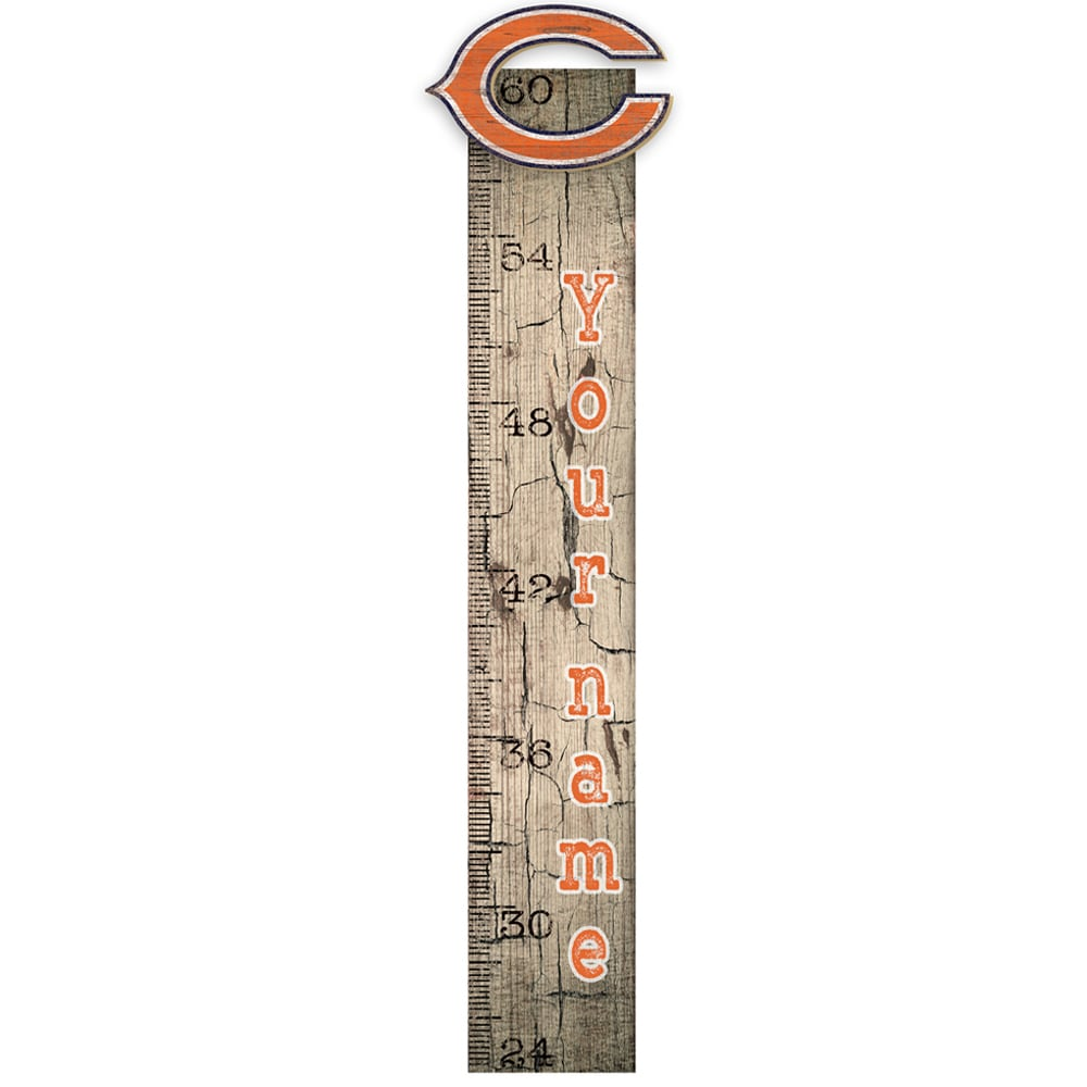 "Chicago Bears 6"" x 36"" Personalized Growth Chart Sign"
