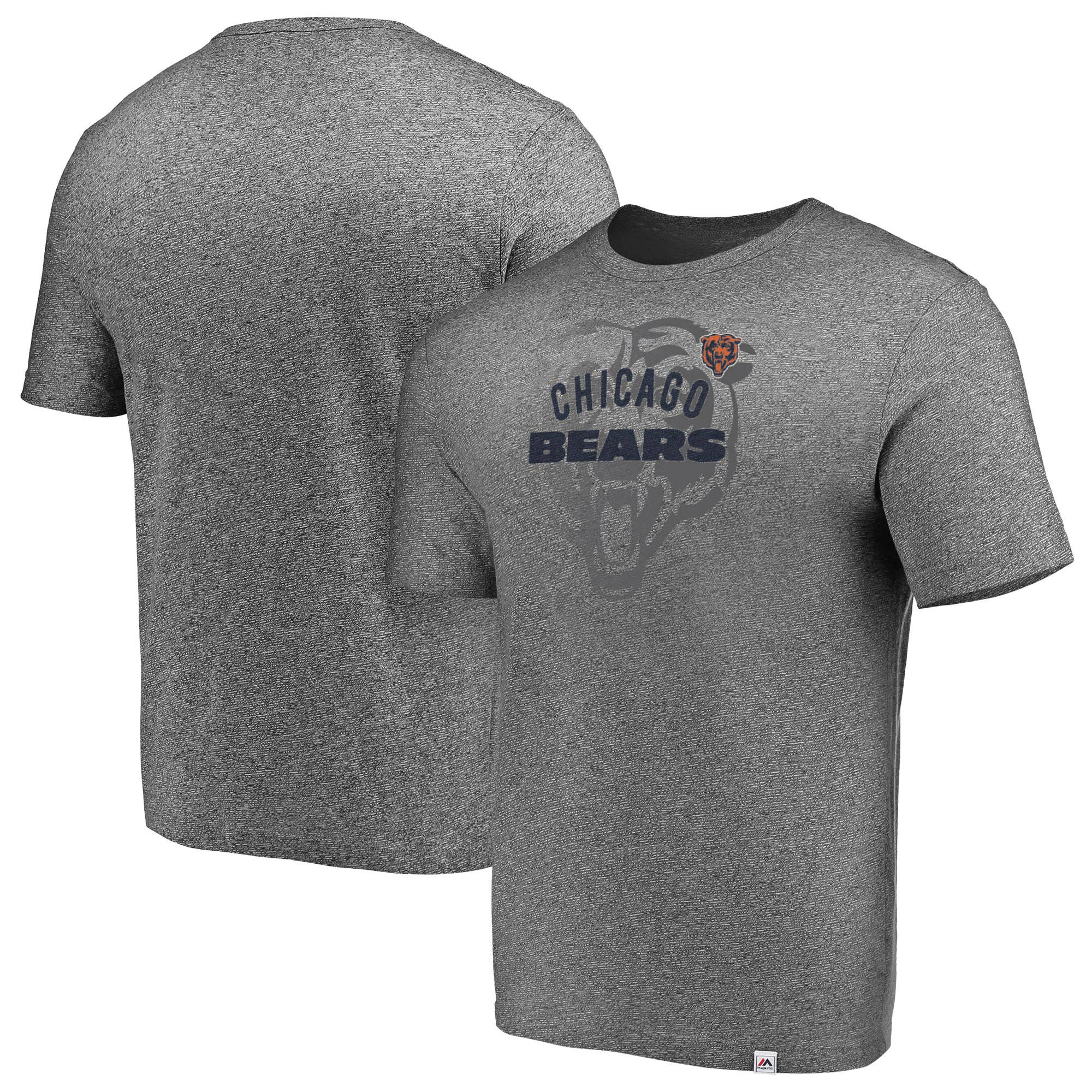 Chicago Bears Majestic Static Fade Marled T-Shirt - Heathered Gray
