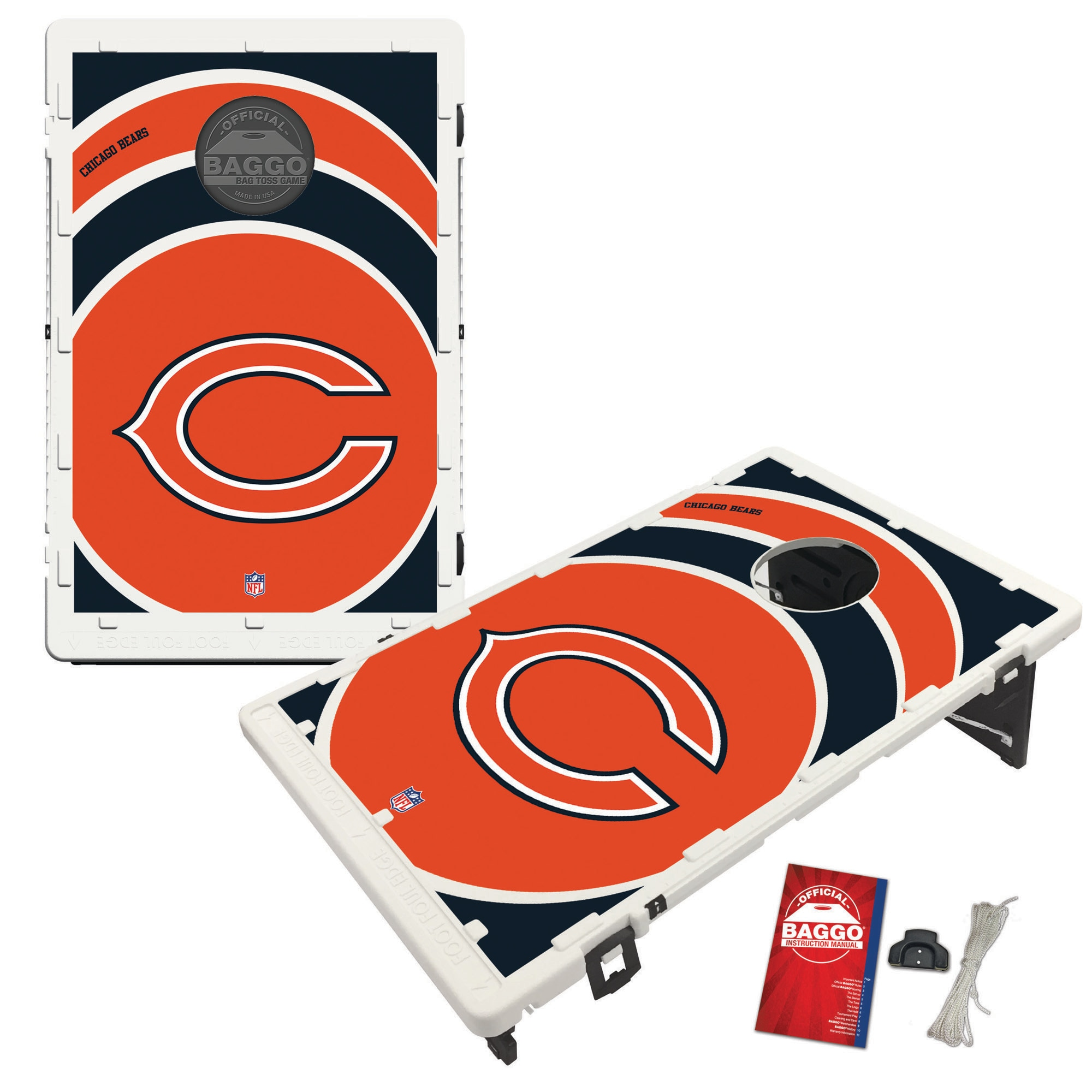 Chicago Bears 2' x 3' BAGGO Vortex Cornhole Board Tailgate Toss Set