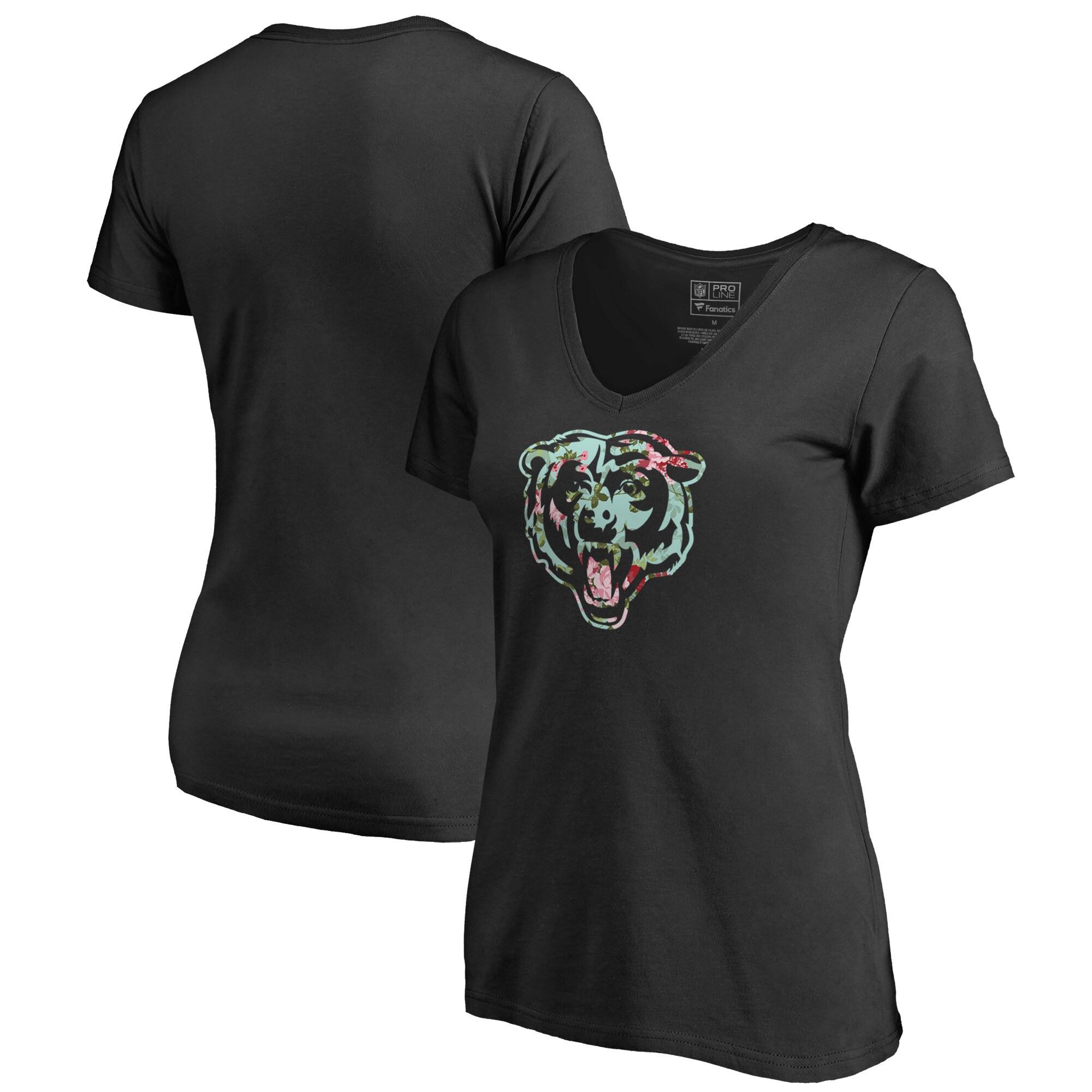 Chicago Bears NFL Pro Line by Fanatics Branded Women's Lovely V-Neck T-Shirt - Black