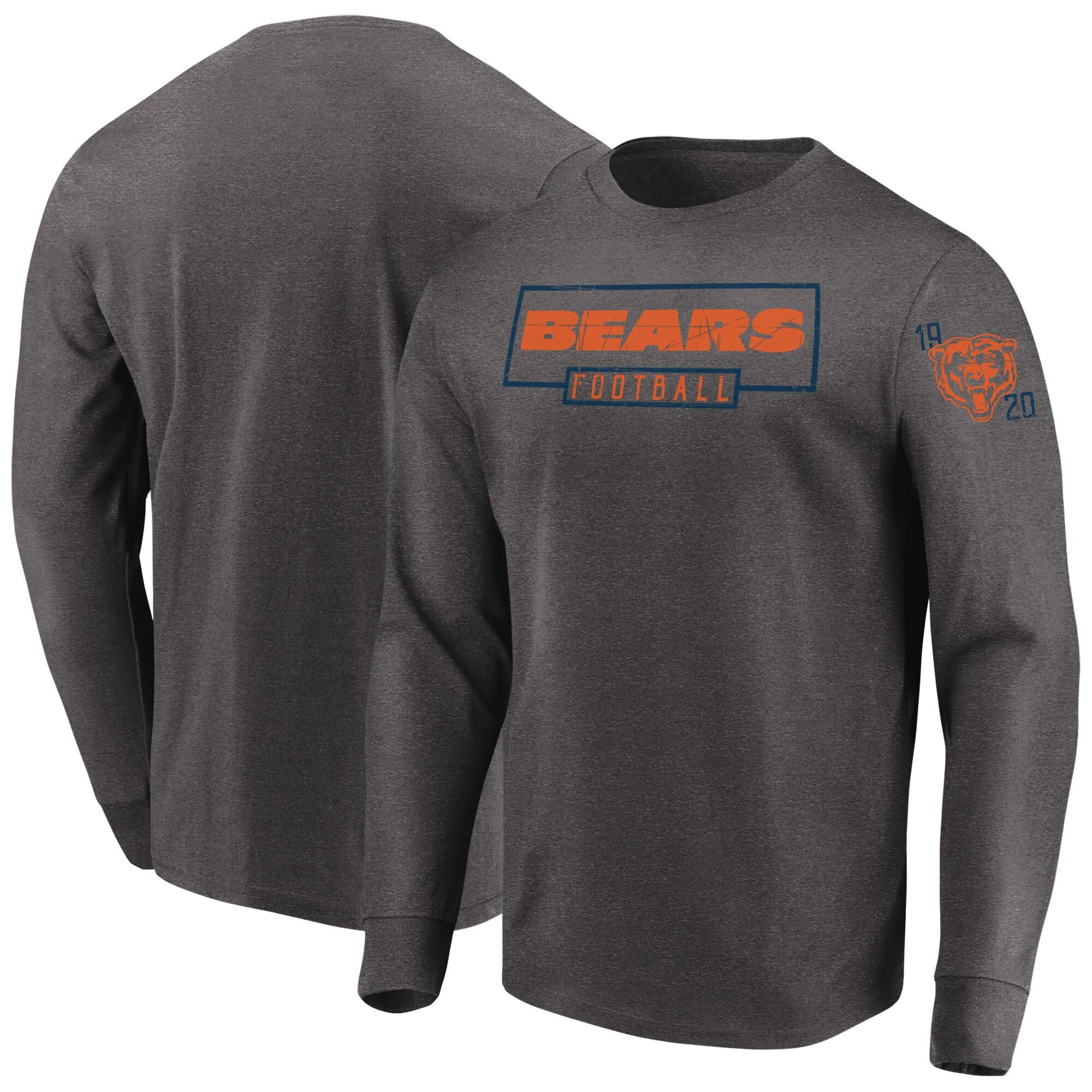 Chicago Bears Majestic Kick Return Long Sleeve T-Shirt - Heathered Charcoal