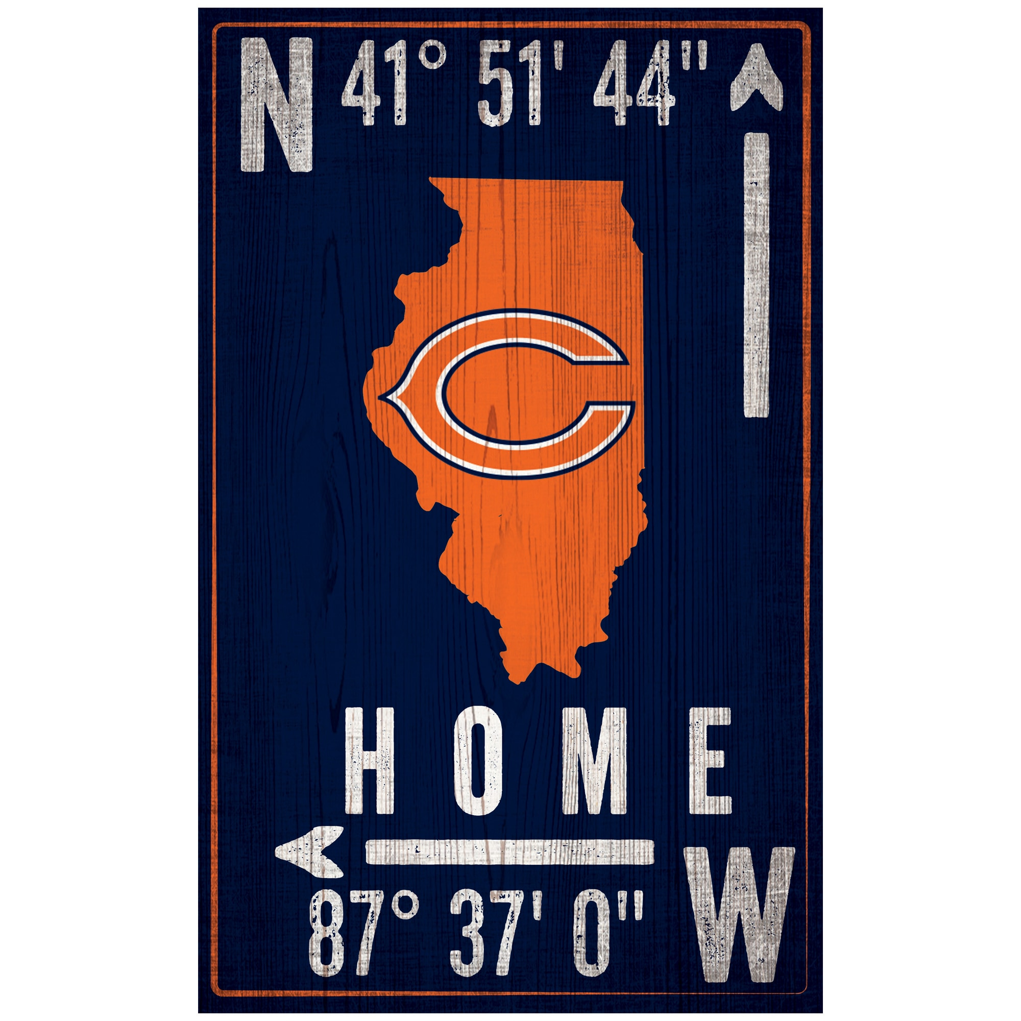 "Chicago Bears 11"" x 19"" Coordinate Sign"