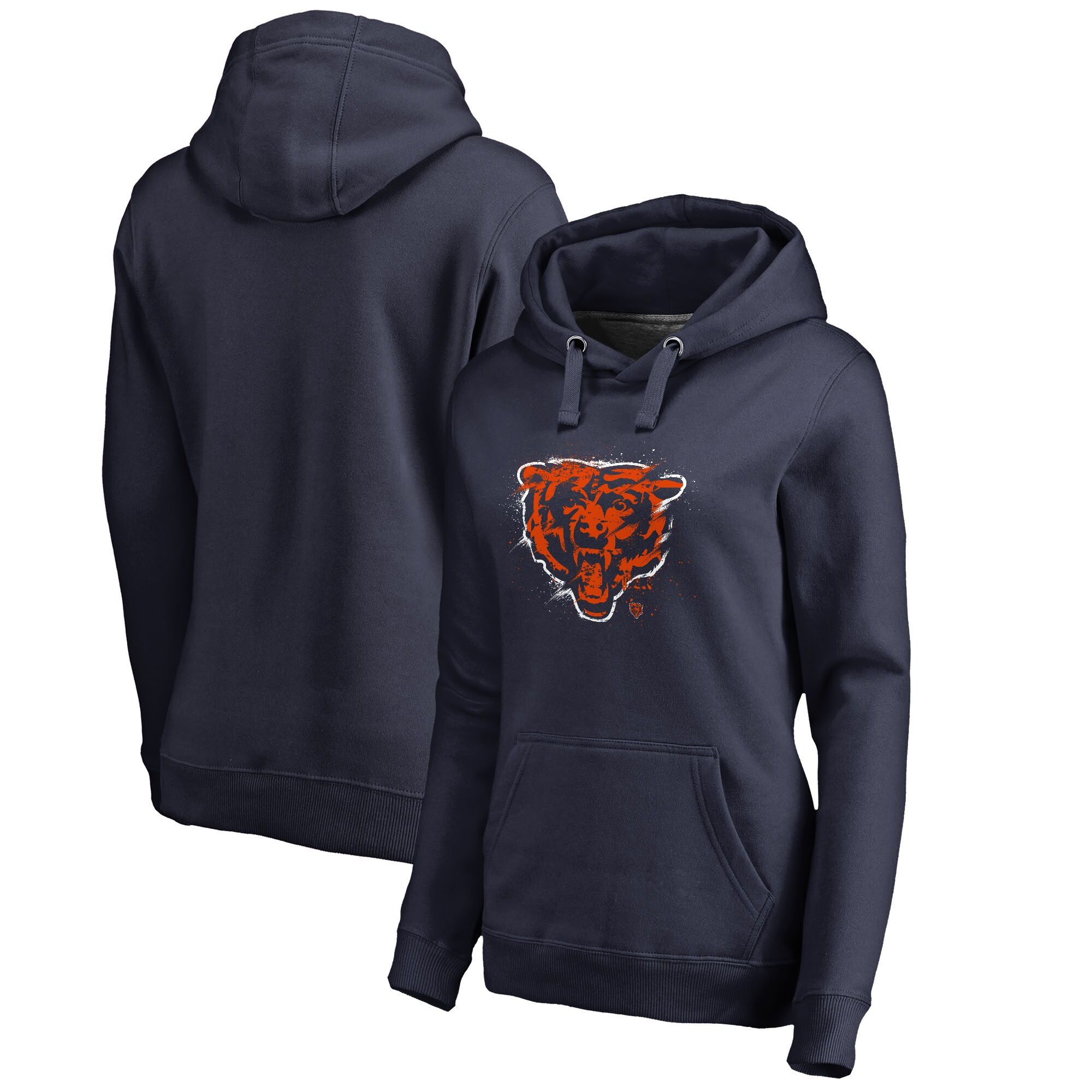 Chicago Bears NFL Pro Line by Fanatics Branded Women's Splatter Logo Pullover Hoodie - Navy