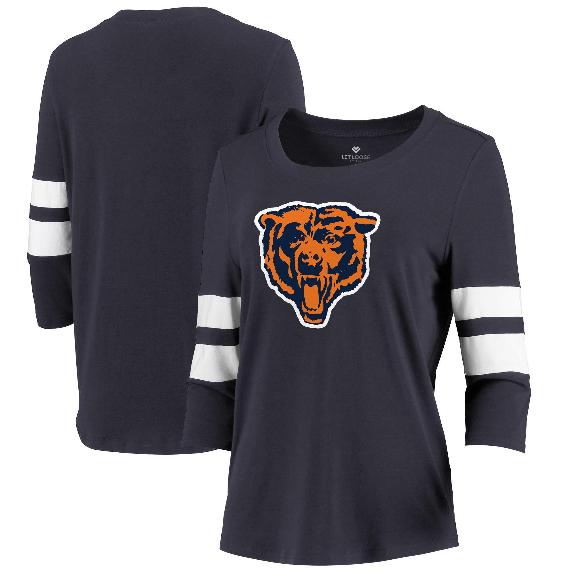 Chicago Bears Let Loose by RNL Women's Team Logo Stripe Tri-Blend 3/4 Sleeve T-Shirt - Navy