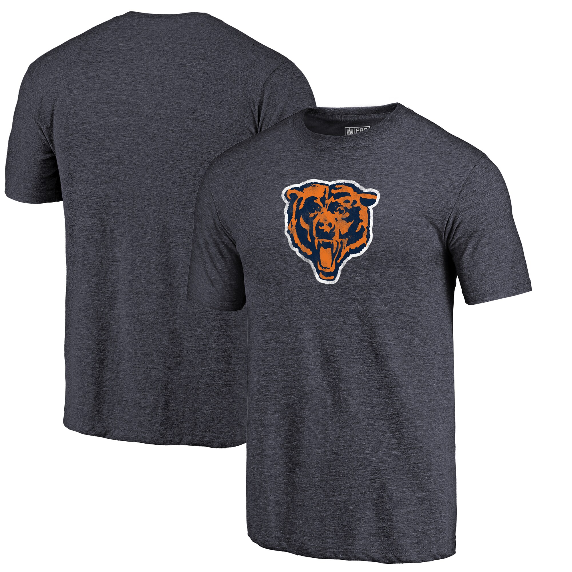 Chicago Bears Fanatics Branded Throwback Logo Tri-Blend T-Shirt - Navy