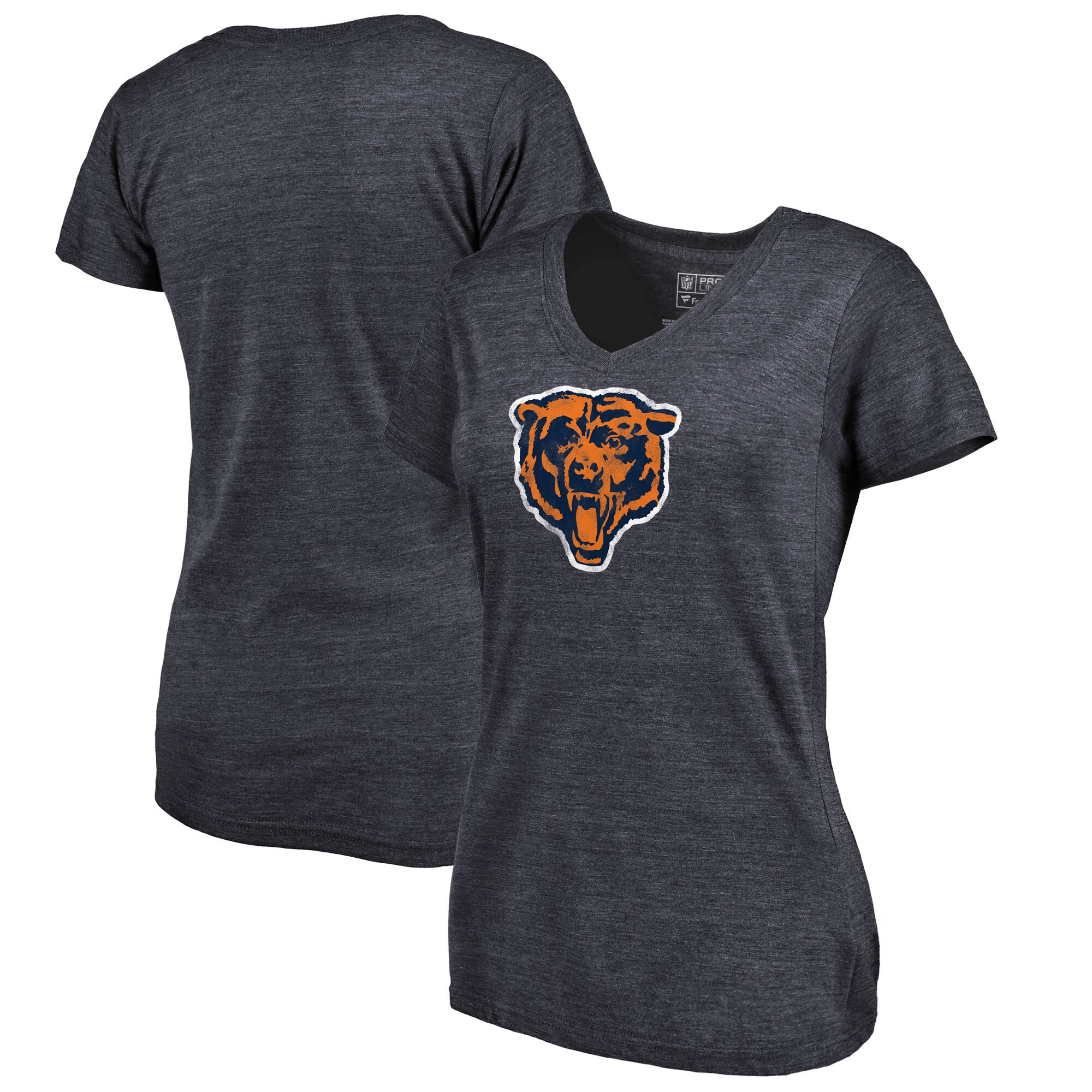 Chicago Bears Fanatics Branded Women's Throwback Logo Tri-Blend V-Neck T-Shirt - Navy
