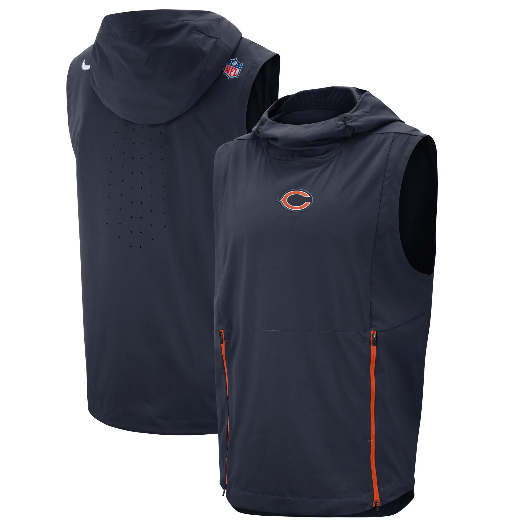Chicago Bears Nike Sideline Fly Rush Performance Pullover Hooded Vest - Navy