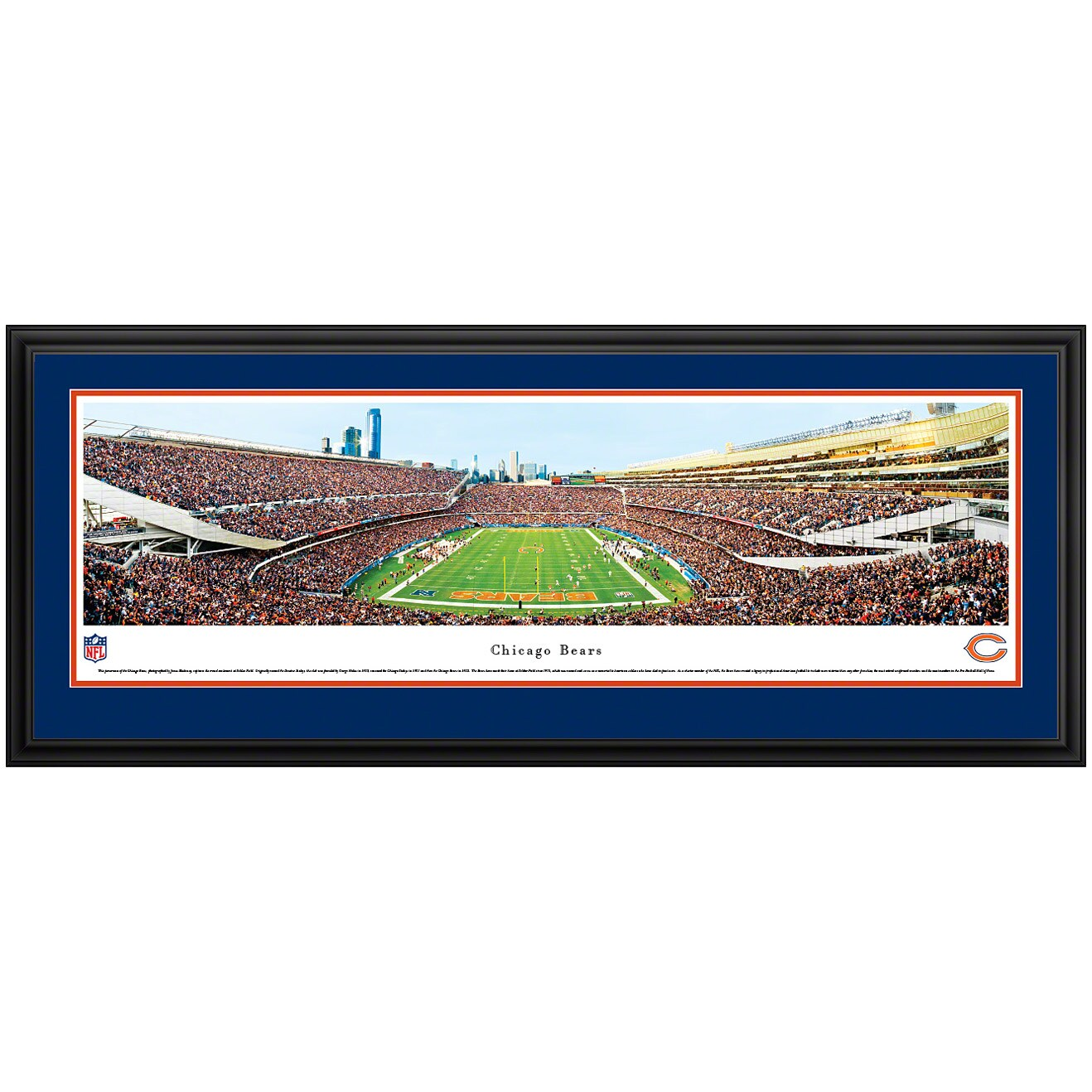 """Chicago Bears 44"""" x 18"""" End Zone Deluxe Frame Panoramic Photo"""