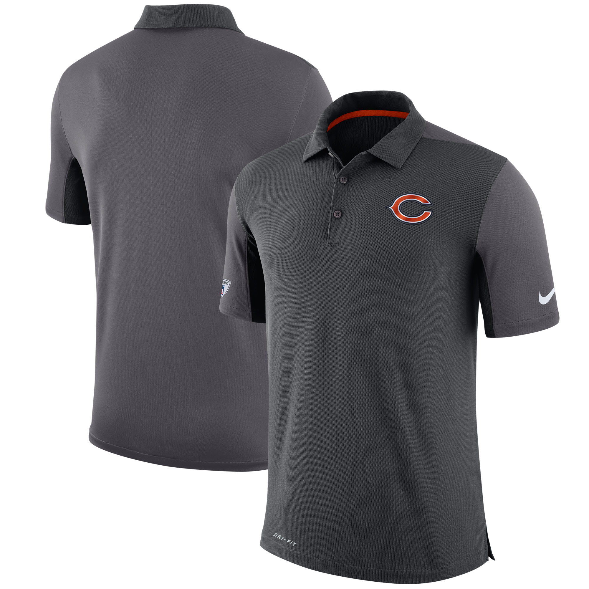 Chicago Bears Nike Sideline Team Issue Logo Performance Polo - Charcoal