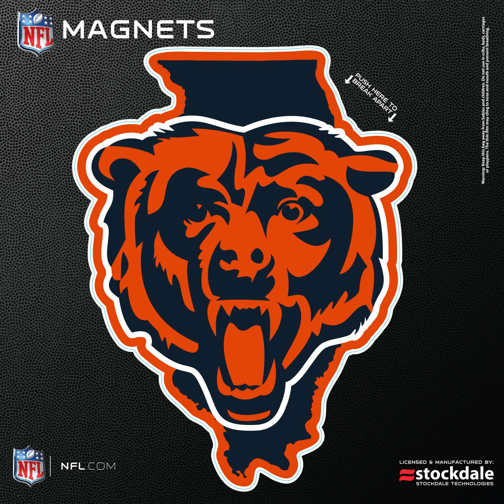 "Chicago Bears 6"" x 6"" State Shape Car Magnet"
