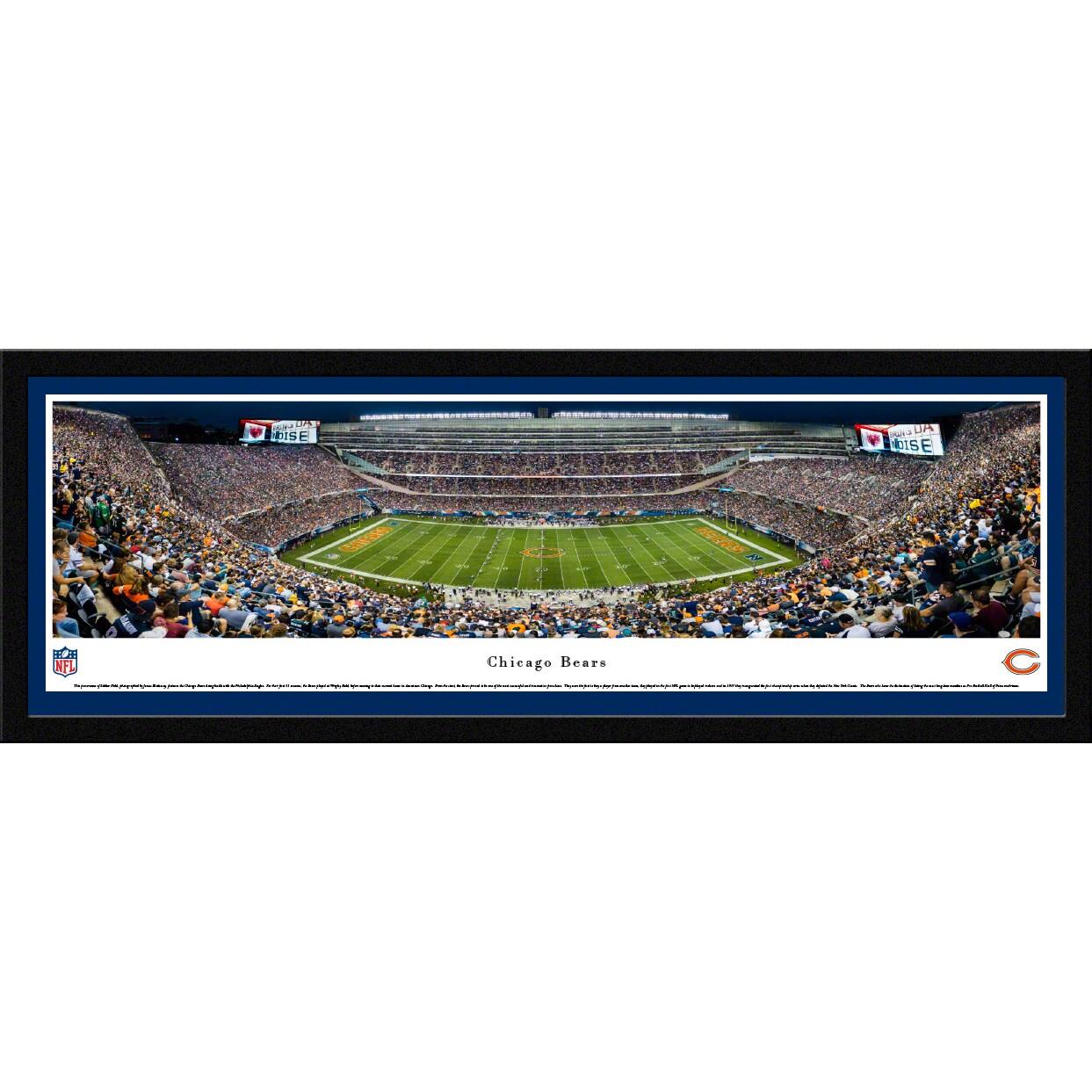 "Chicago Bears 16"" x 42"" Night Select Frame Premium Panoramic Photo"