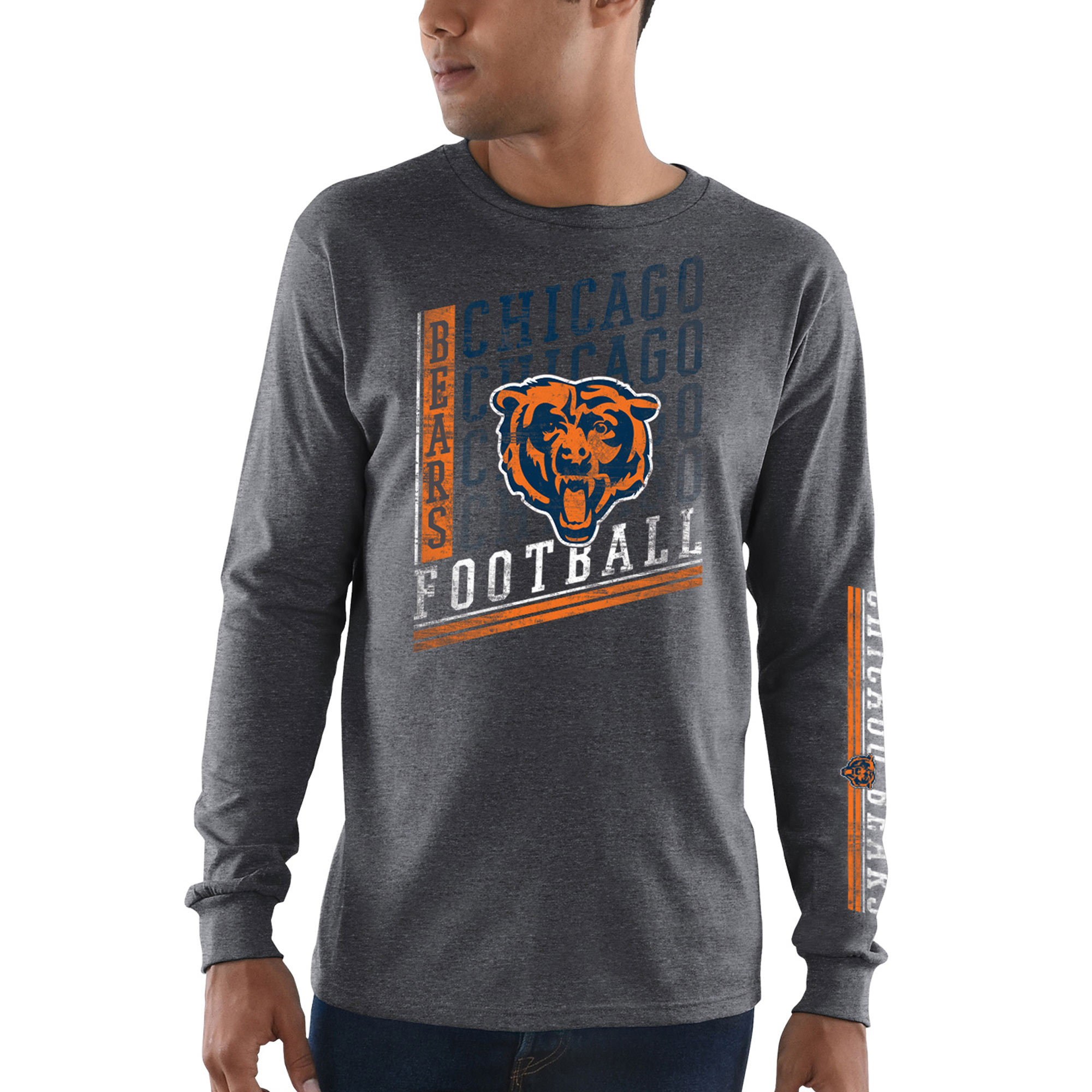 Chicago Bears Majestic Dual Threat Long Sleeve T-Shirt - Heathered Charcoal