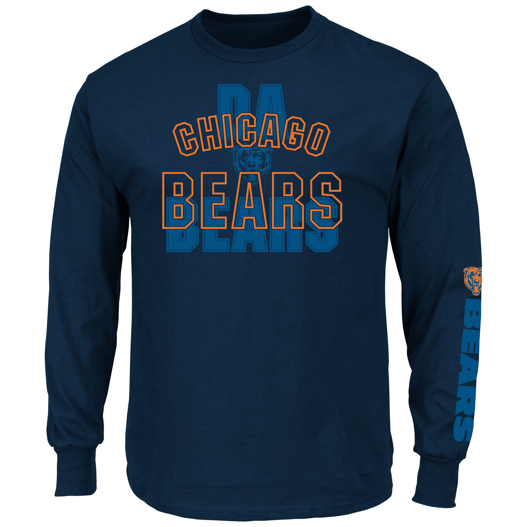 Chicago Bears Majestic Primary Receiver Slogan Long Sleeve T-Shirt - Navy