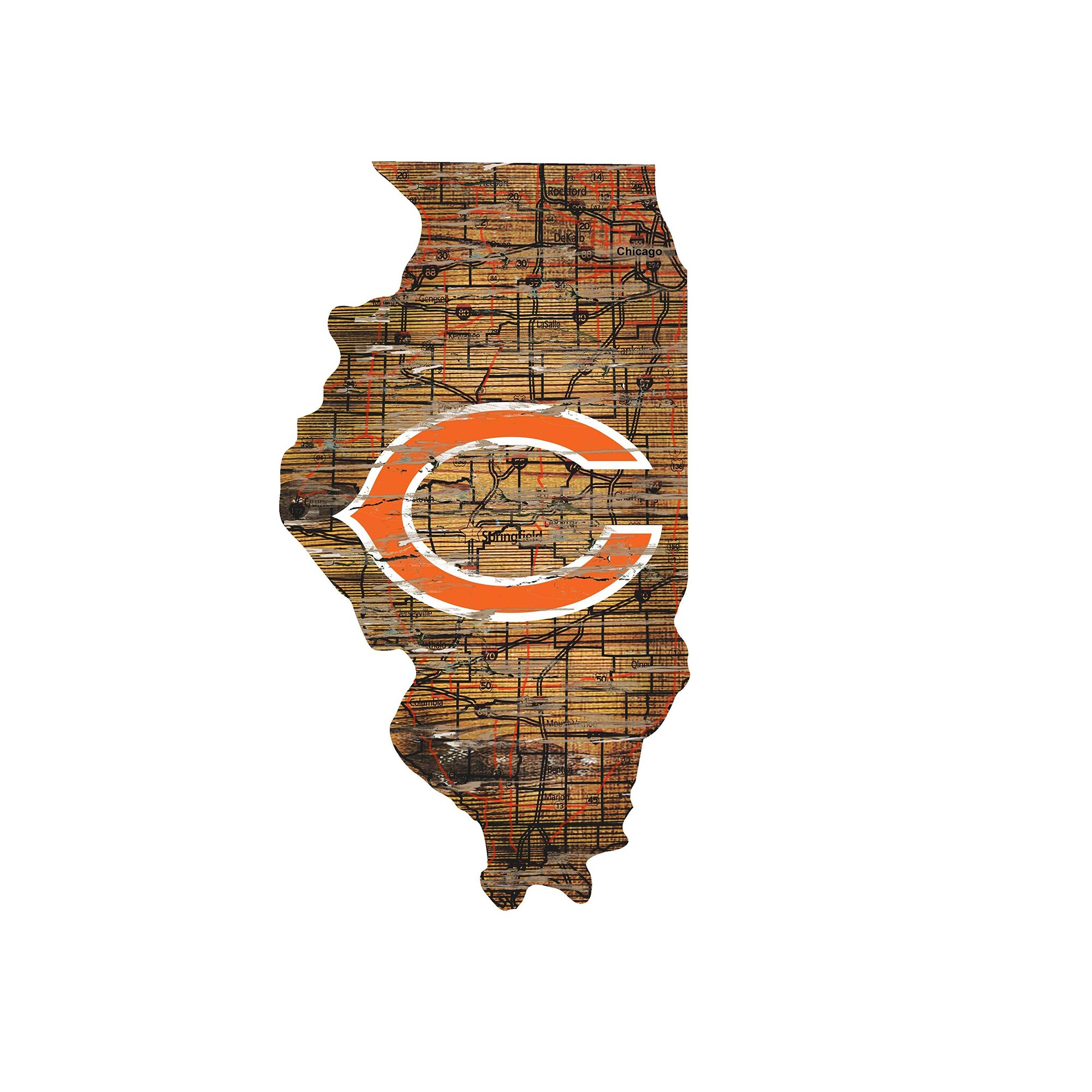 "Chicago Bears 23.5"" x 23.5"" Distressed State with Logo Sign"