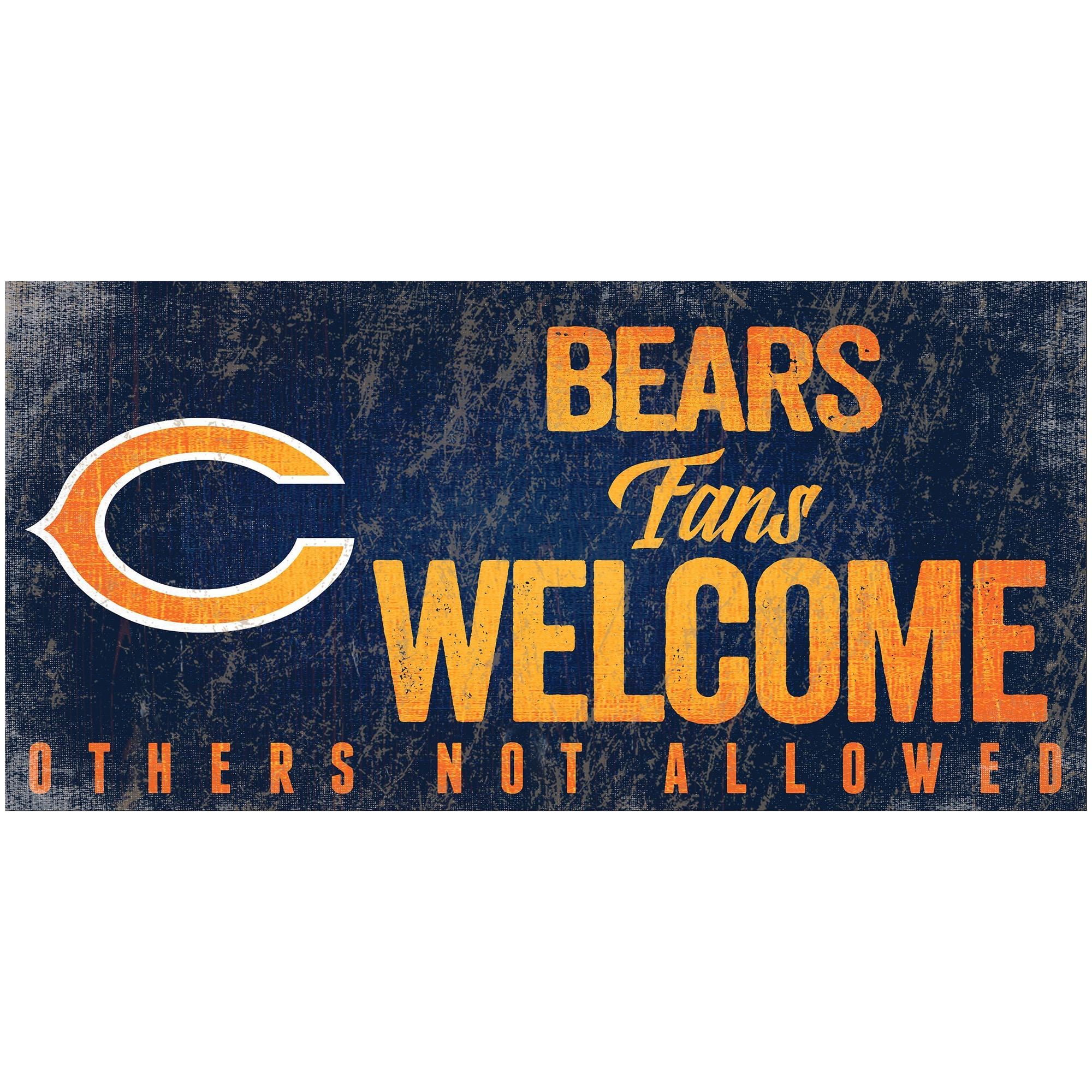 "Chicago Bears 6"" x 12"" Fans Welcome Sign"