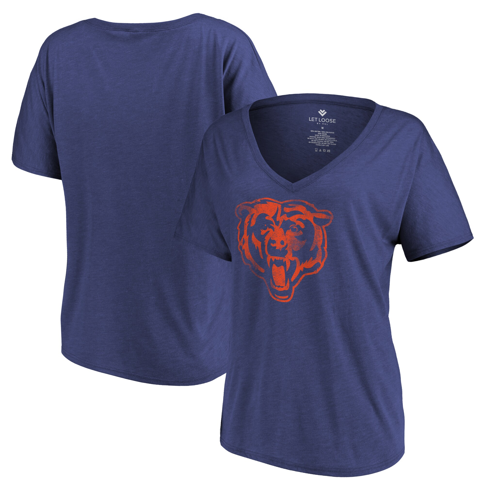 Chicago Bears Let Loose by RNL Women's Distressed Primary V-Neck T-Shirt - Navy