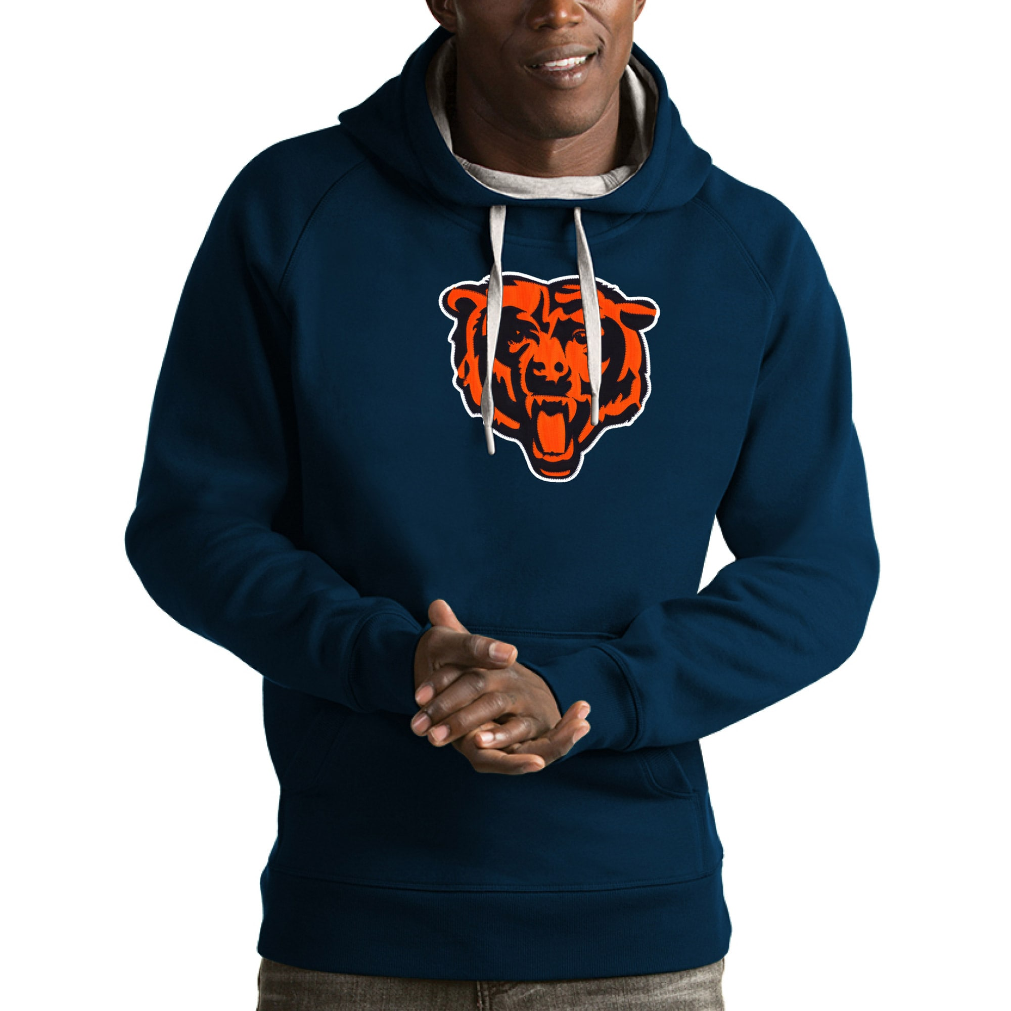 Chicago Bears Antigua Victory Pullover Hoodie - Navy