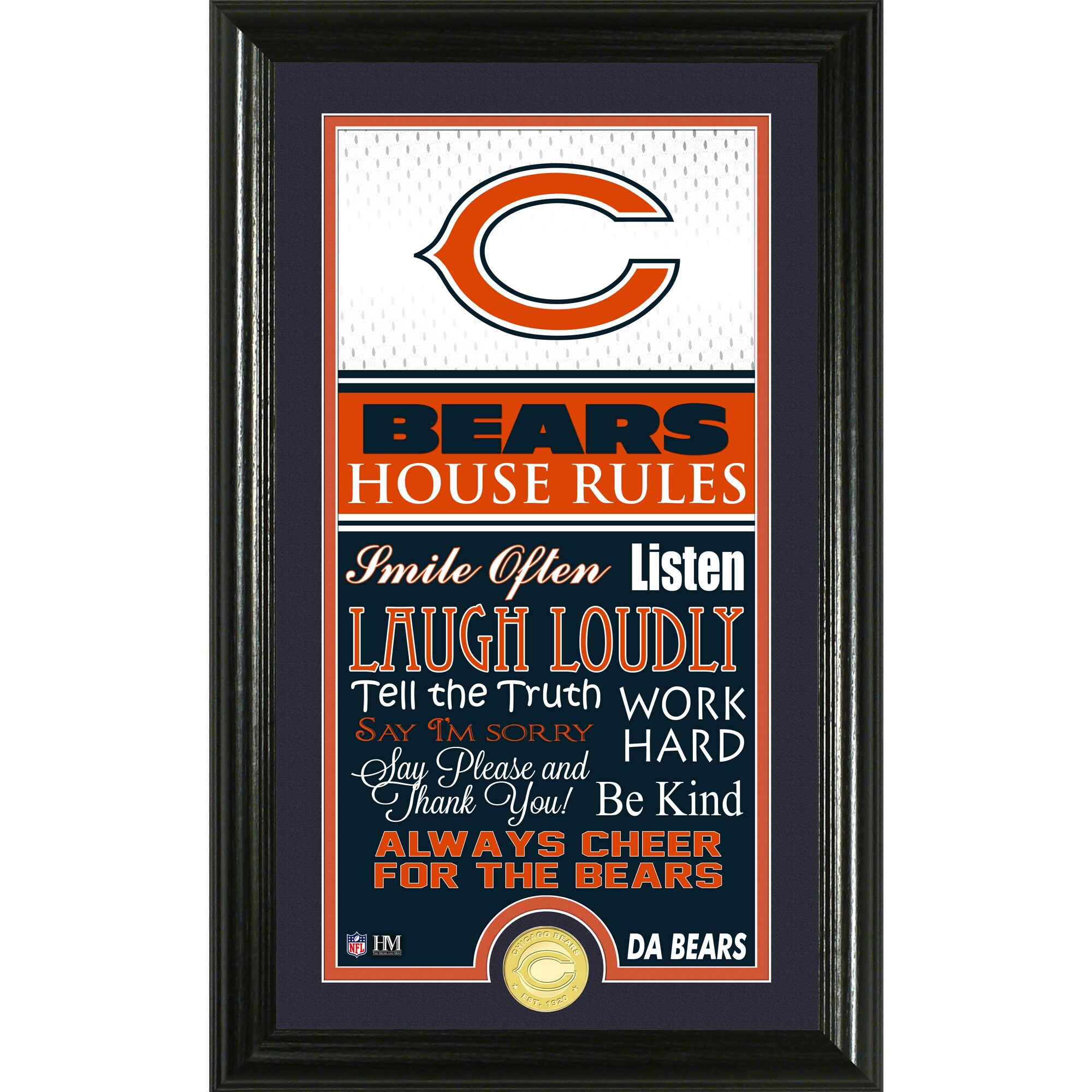 Chicago Bears Highland Mint 12'' x 20'' House Rules Supreme Photo Mint